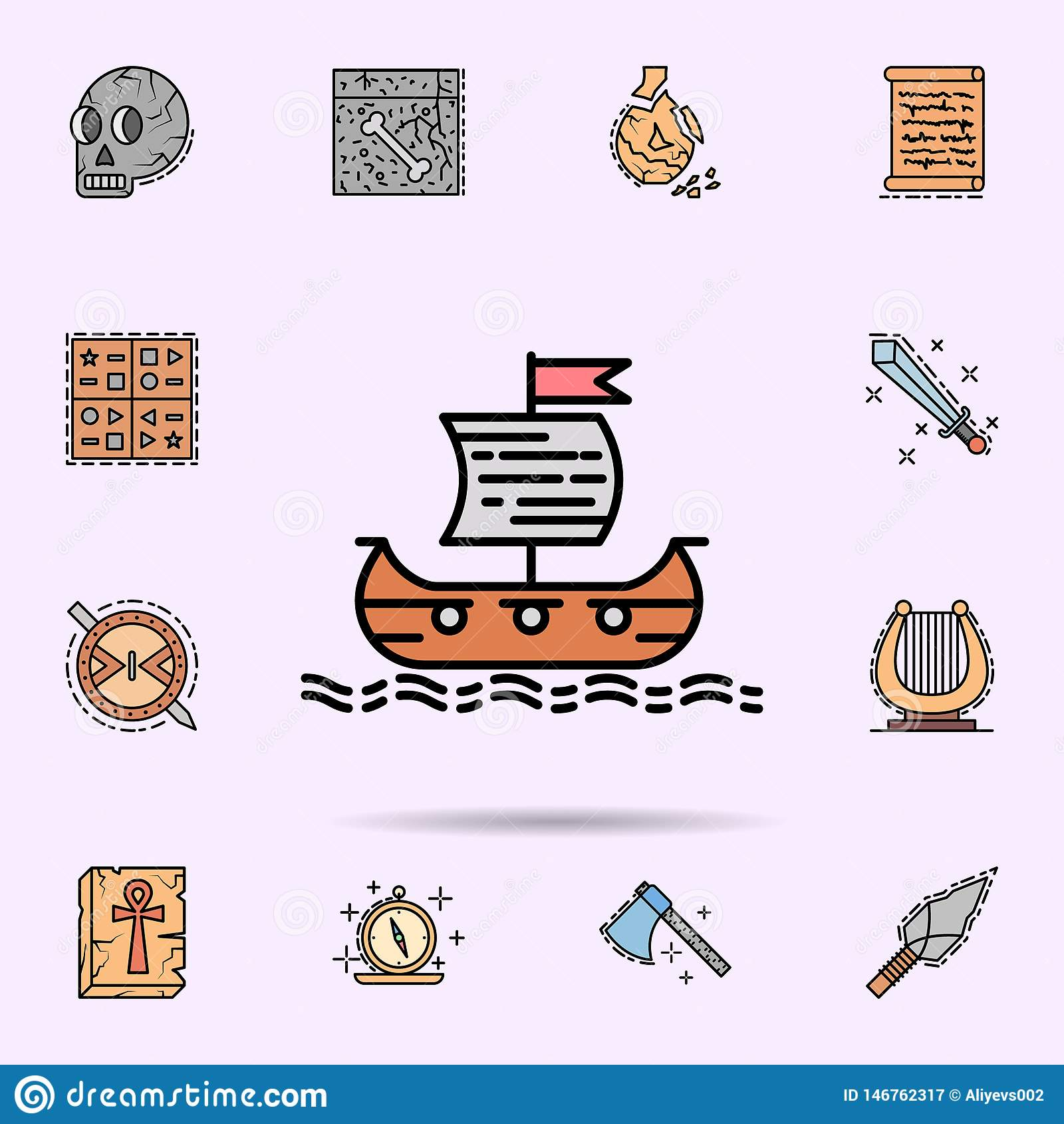 Корабль Викинга, сосуд, море, транспорт, значок флага r