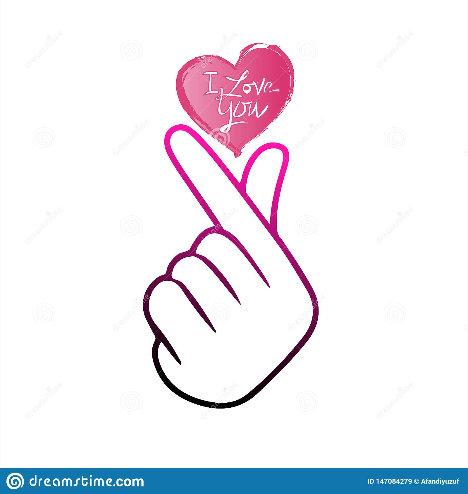 """Корейское сердце """"я тебя люблю """"иллюстрация пальца вектора Hangul Корейское сердце руки символа, сообщение жеста рукой любов Знач"""