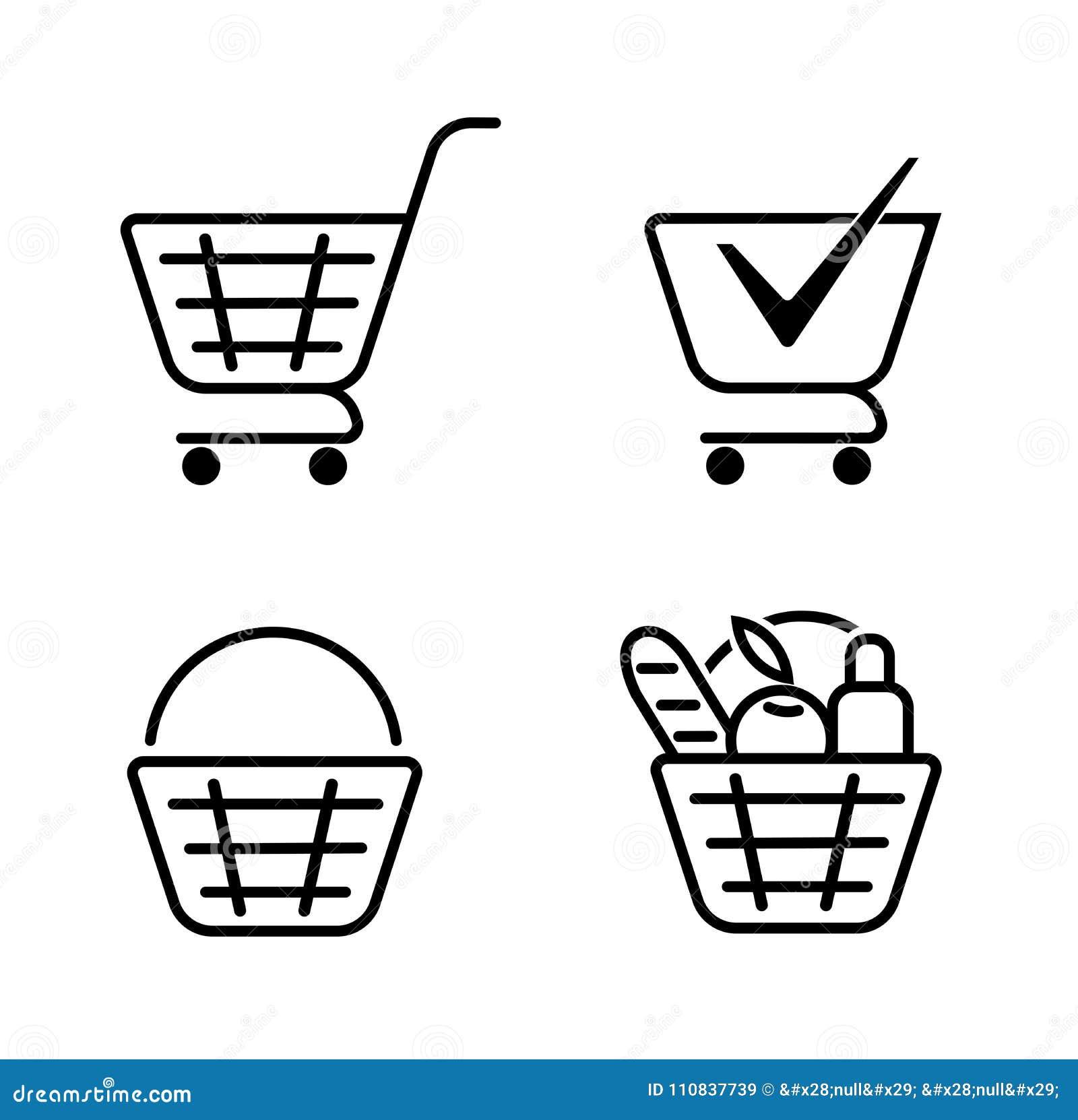Корзина еды, значков корзины установленных Посещение магазина бакалеи, специальное предложение, линия дизайн вектора значка Значо