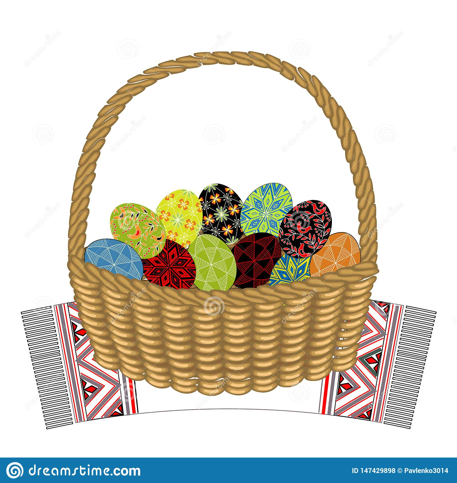 Корзина на декоративном полотенце В нем пасхальные яйца с покрашенными орнаментами Символ пасхи Старая традиция людей