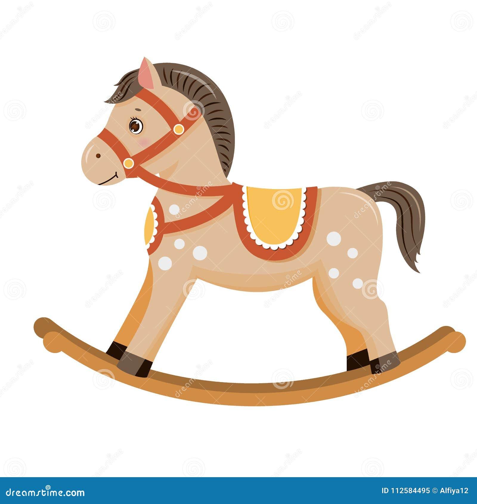 Коричневый цвет игрушки младенца тряся лошади