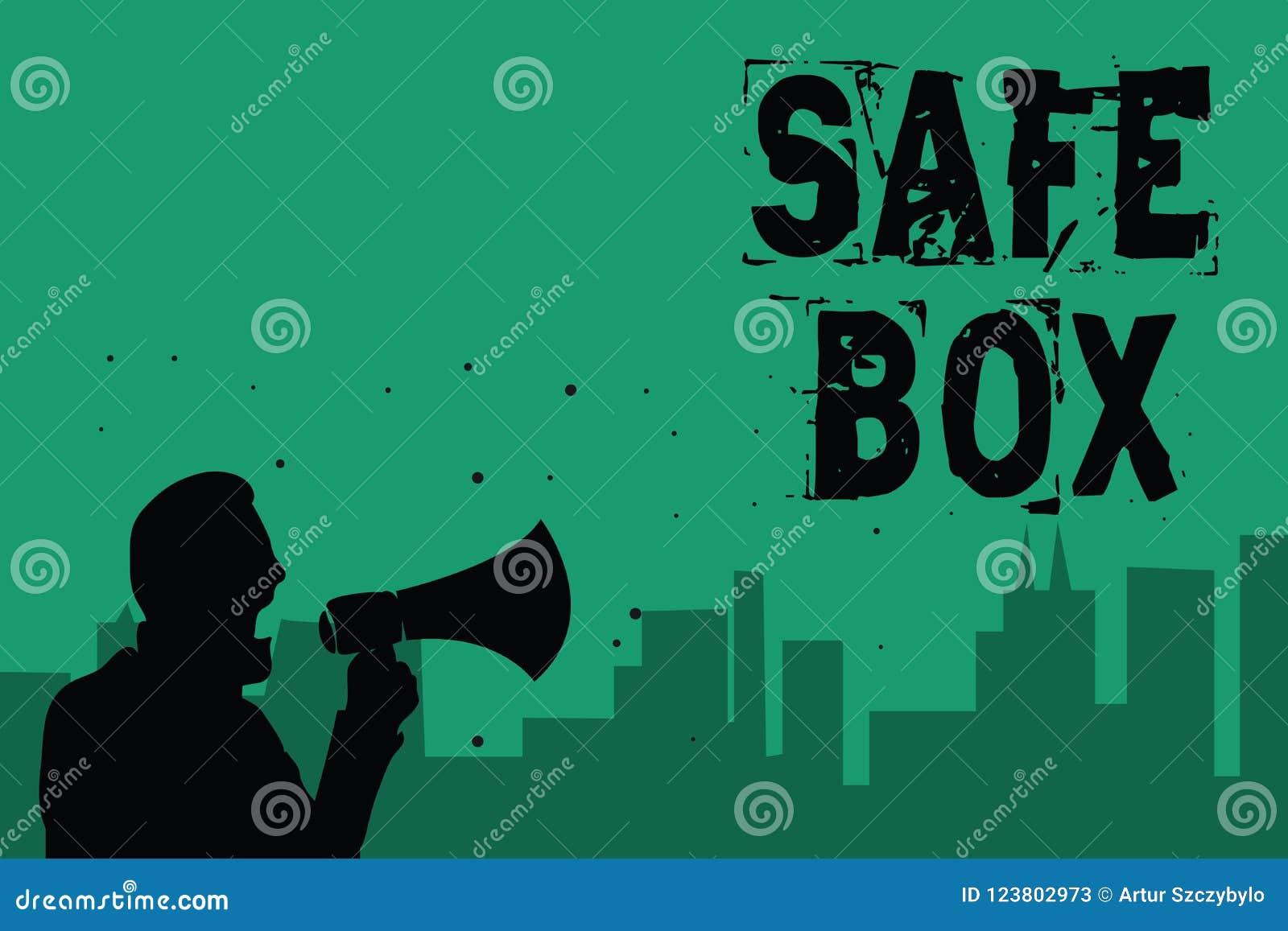 Коробка сейфа текста сочинительства слова Концепция дела для структуры a малой где вы можете держать важной или ценные вещи укомп