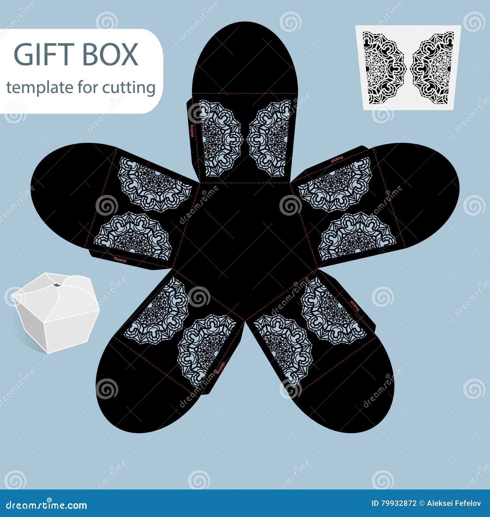 Коробка Openwork подарка бумажная, картина шнурка, pentagonal дно, отрезка шаблон вне, упаковывающ для розницы, приветствуя упако