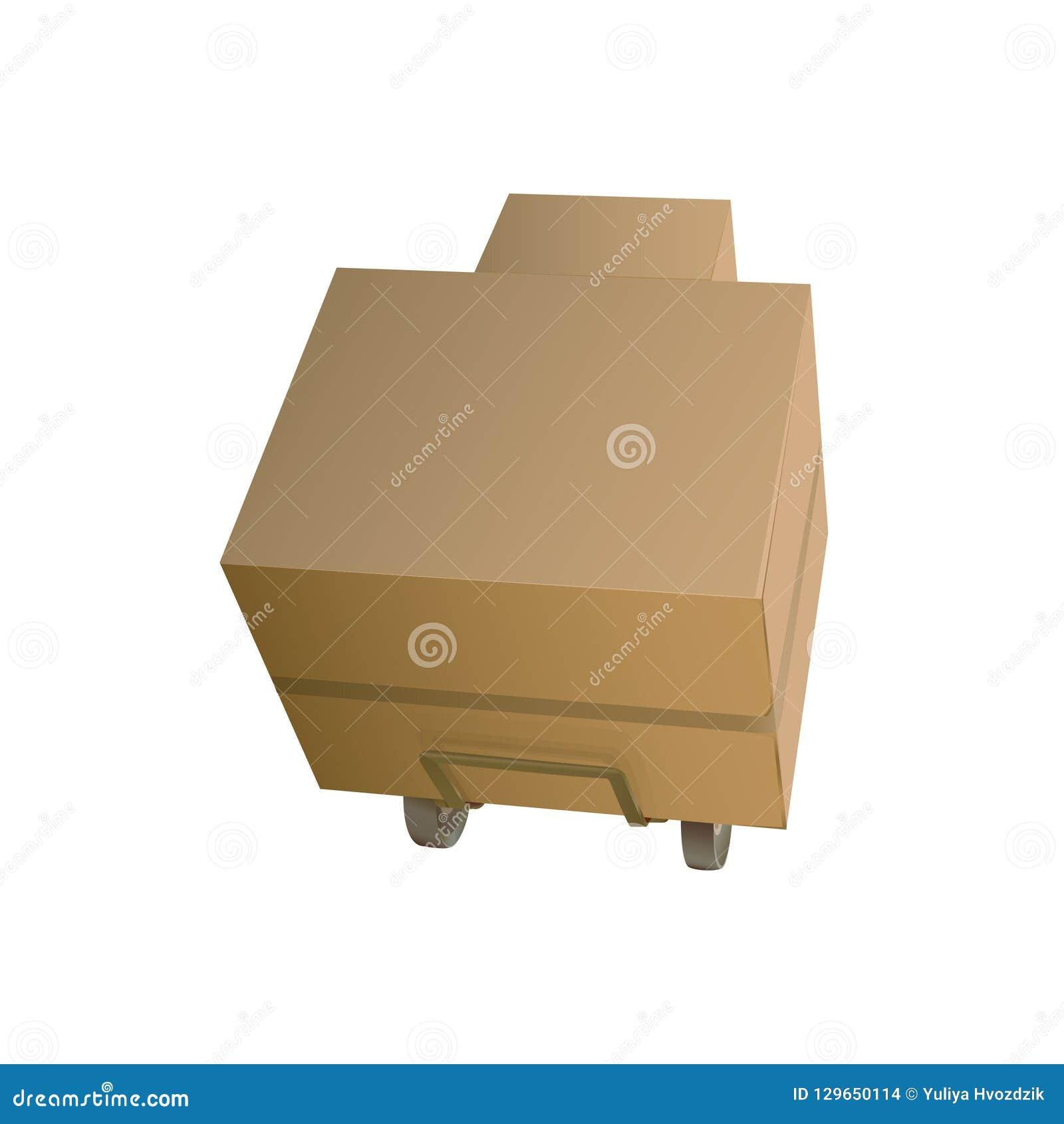 Коробки коробки на вагонетке на белой предпосылке