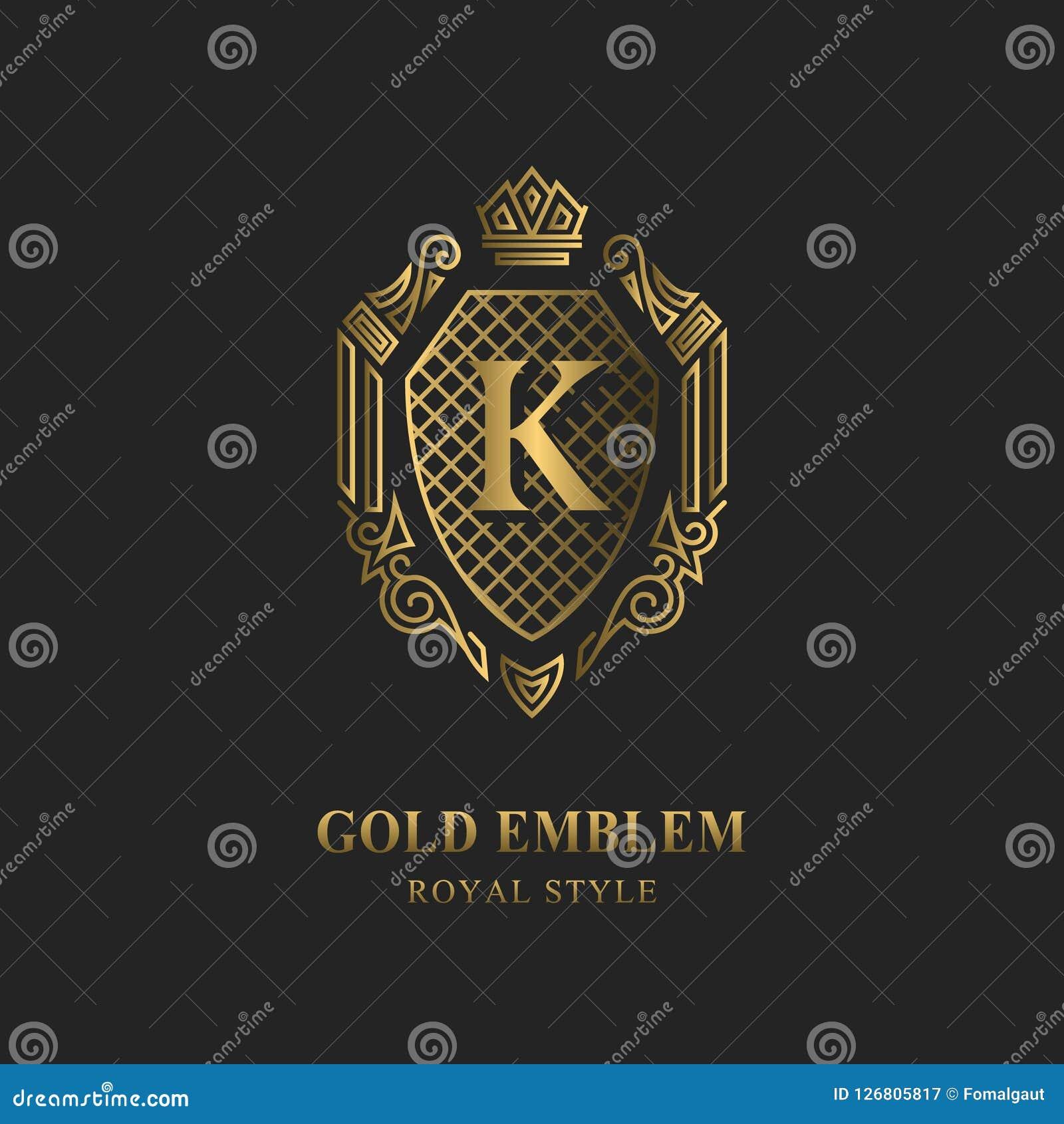 Королевский дизайн вензеля Роскошный объемный шаблон логотипа 3d линия орнамент Эмблема с письмом k для знака дела, значка, гребн