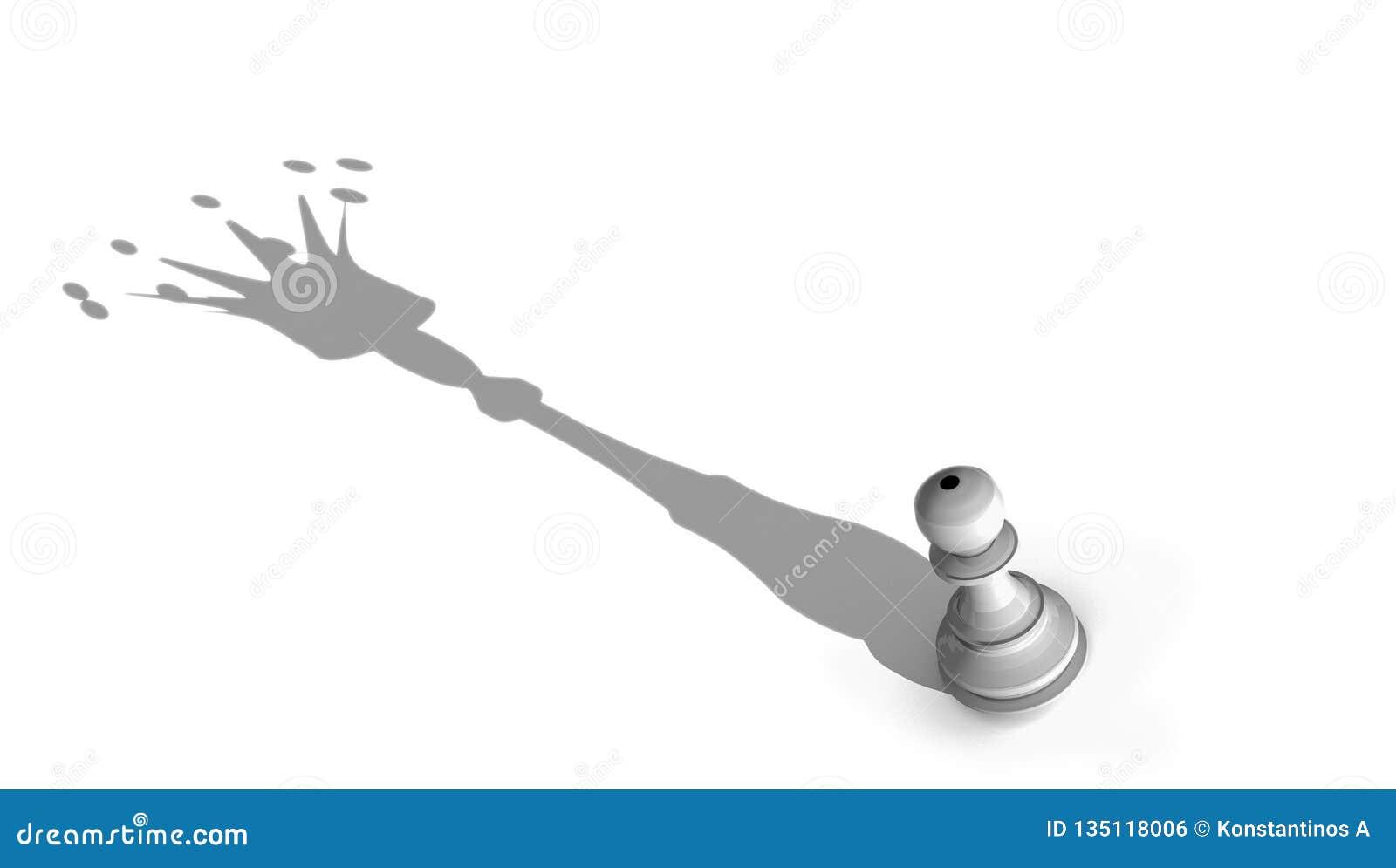 Король ферзя представляет пешку шахмат и большой перевод shandow -3d кроны