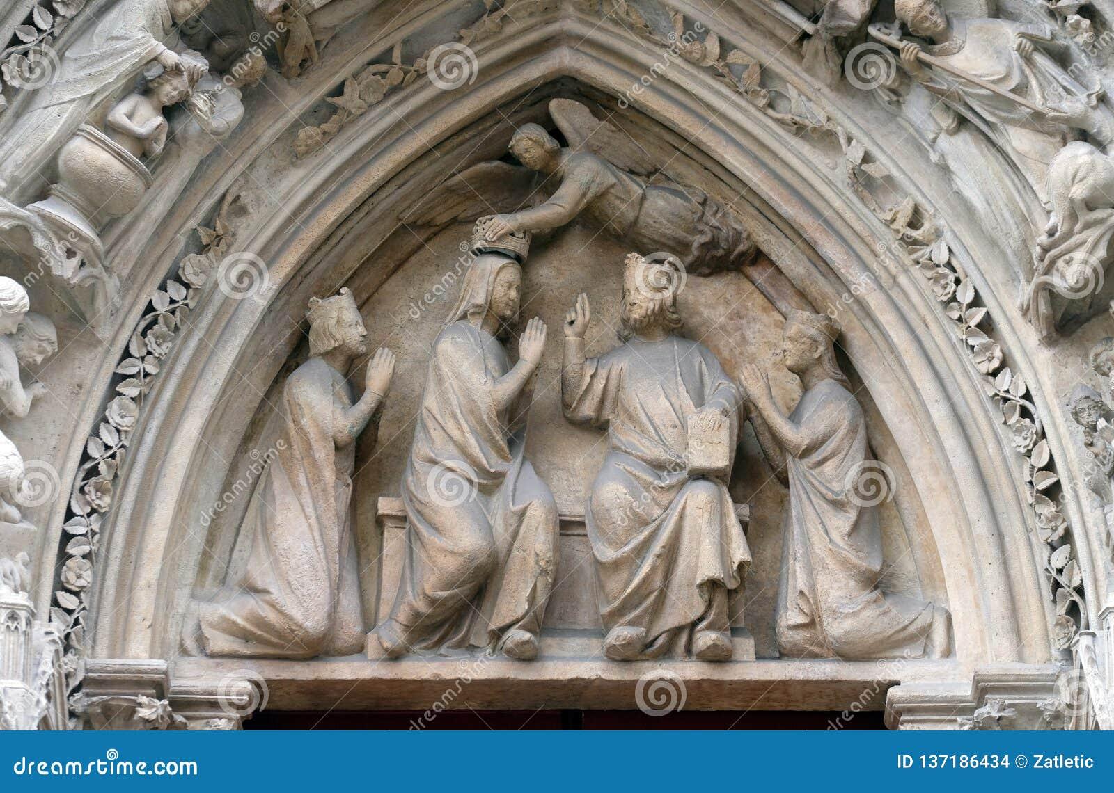 Коронование девой марии, собор Нотр-Дам, Париж