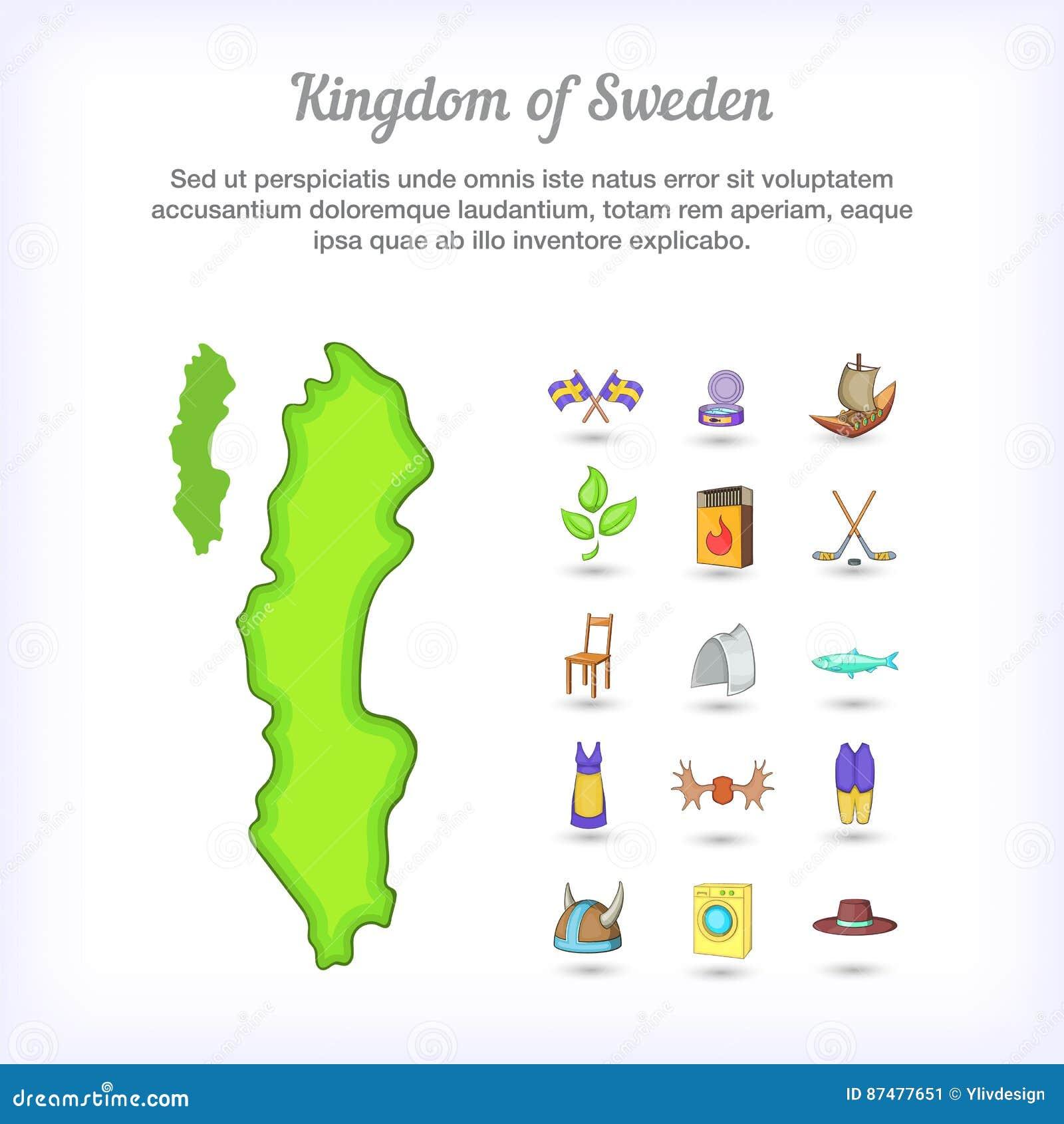 Королевство концепции Швеции, стиль шаржа