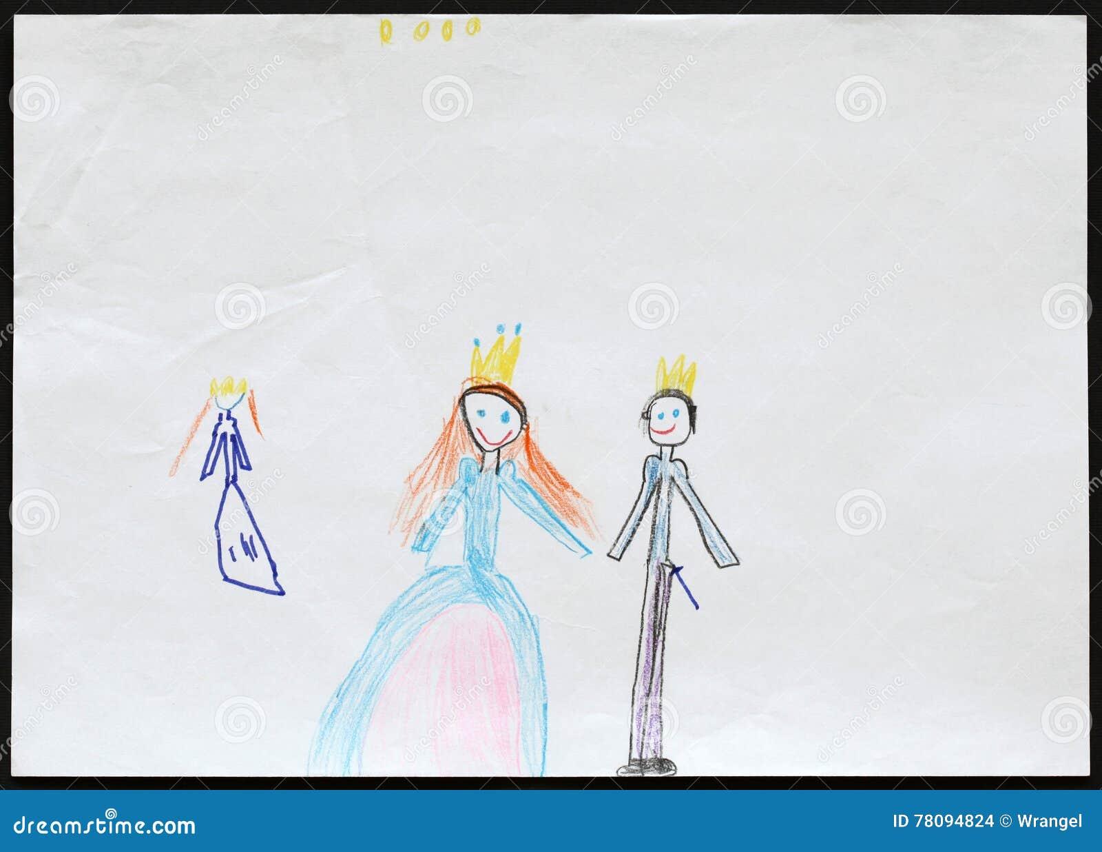 Король и ферзь и принцесса Child& x27; чертеж s