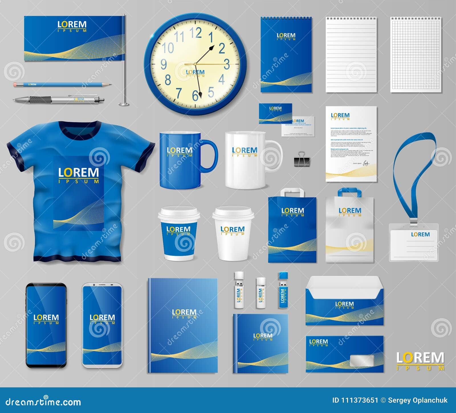 Корпоративный дизайн шаблона клеймя идентичности Модель-макет канцелярских принадлежностей для магазина с современной голубой стр