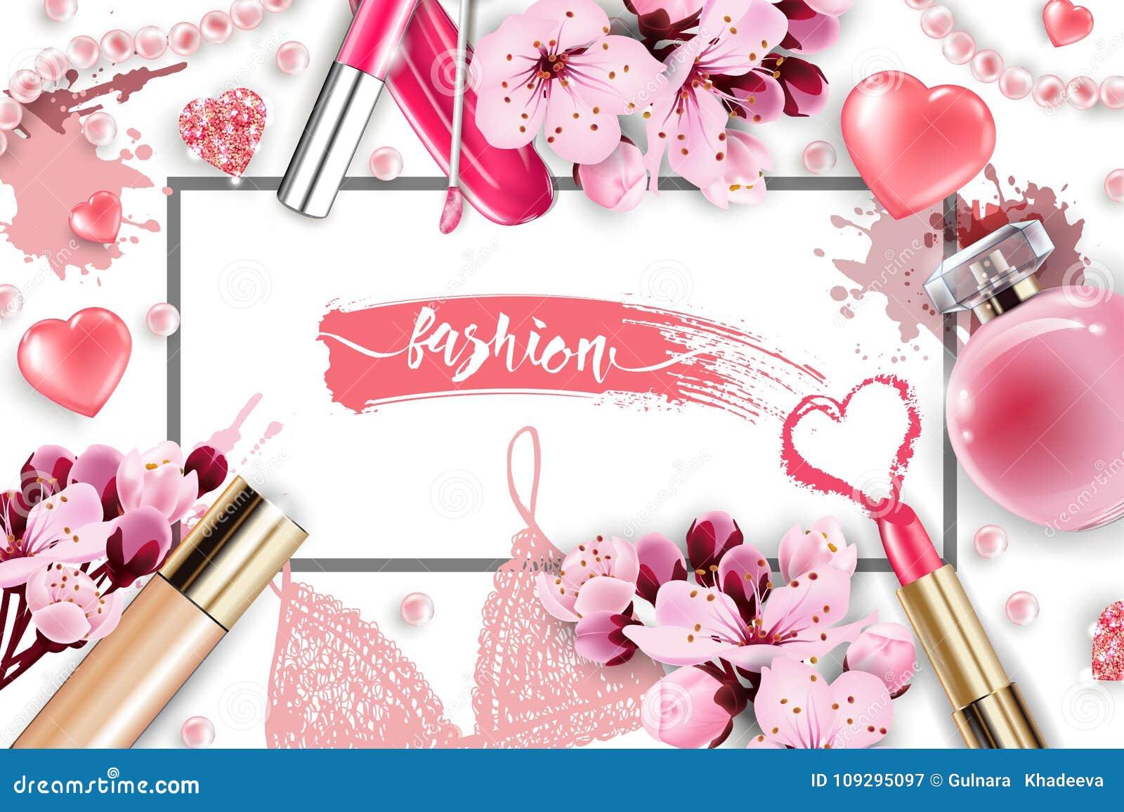 Косметики и предпосылка моды с составляют объекты художника: лоск губы, дух, розовый жемчуг отбортовывает, сверкная сердца