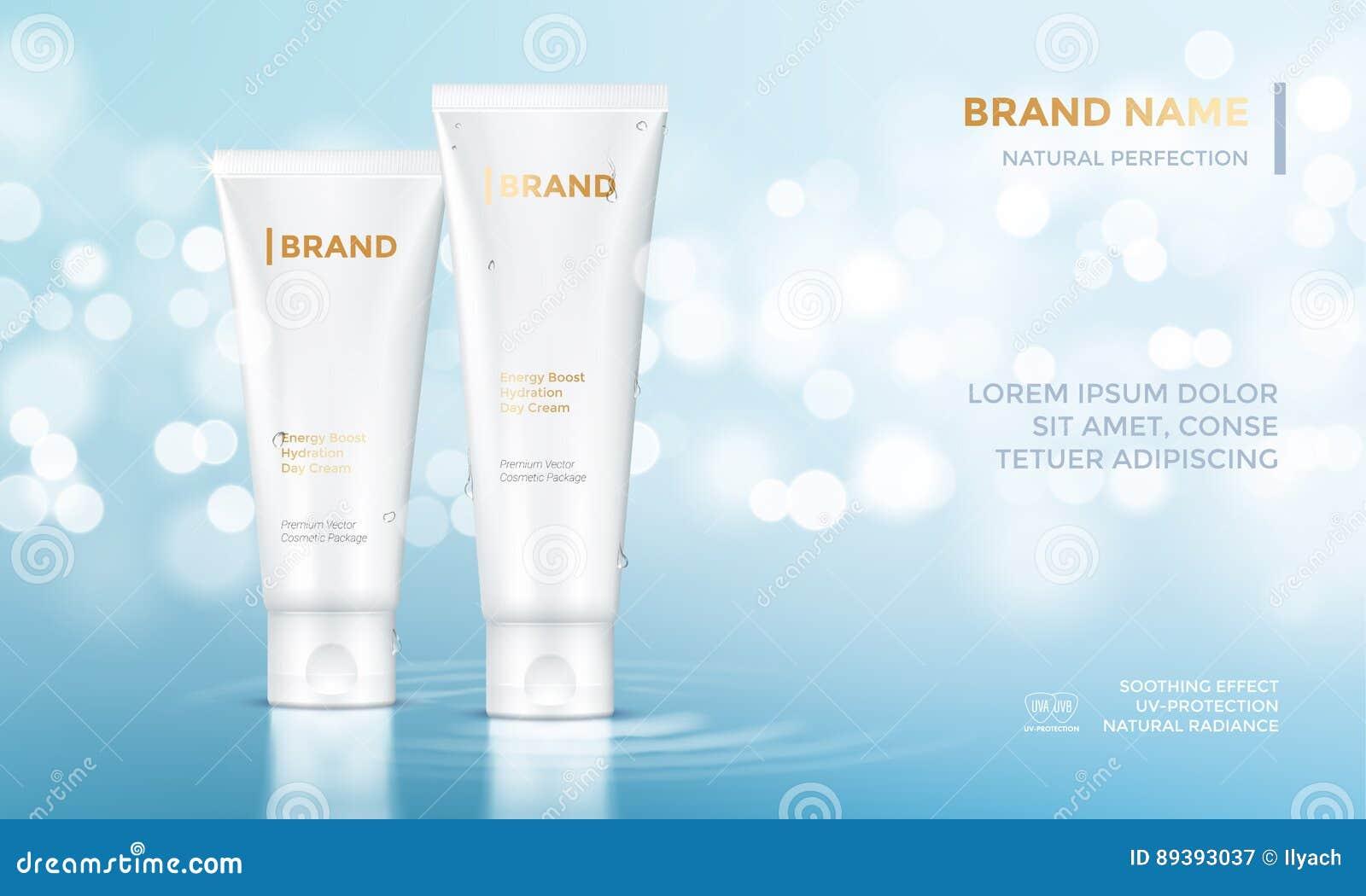 Косметическая предпосылка воды сливк заботы кожи шаблона вектора рекламы пакета