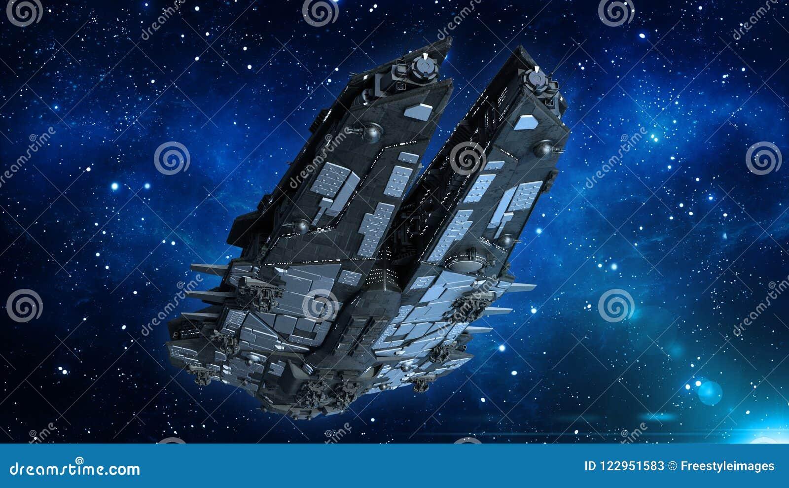 Космический корабль в вселенной, летание чужеземца корабля в глубоком космосе с звездами на заднем плане, взгляд UFO нижний, 3D п