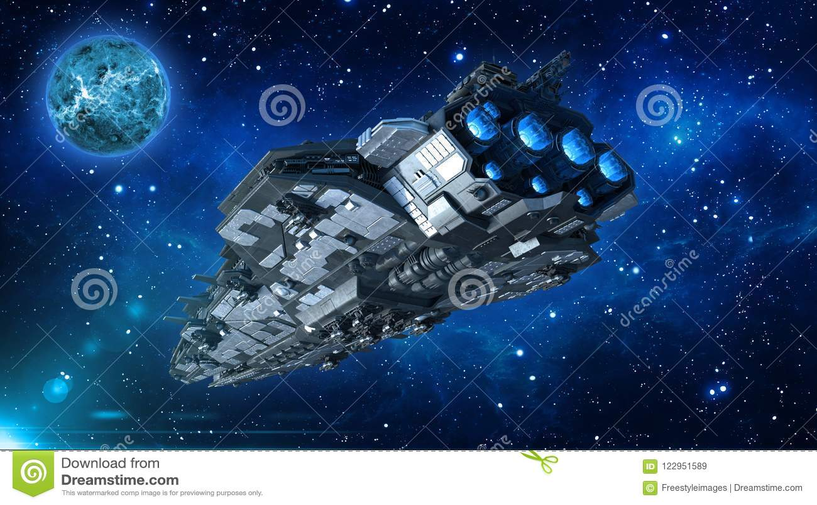 Космический корабль чужеземца в вселенной, летании корабля в глубоком космосе с планетой и звездах на заднем плане, взгляд UFO за