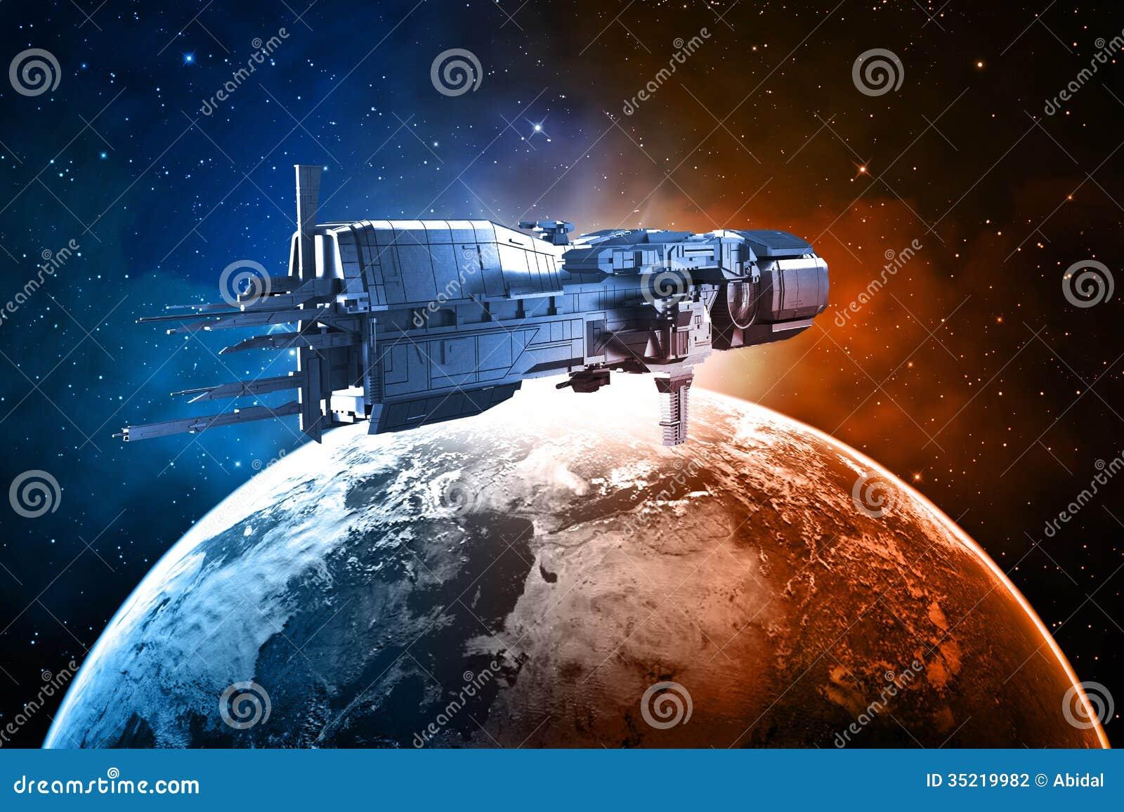 Космический корабль с землей планеты