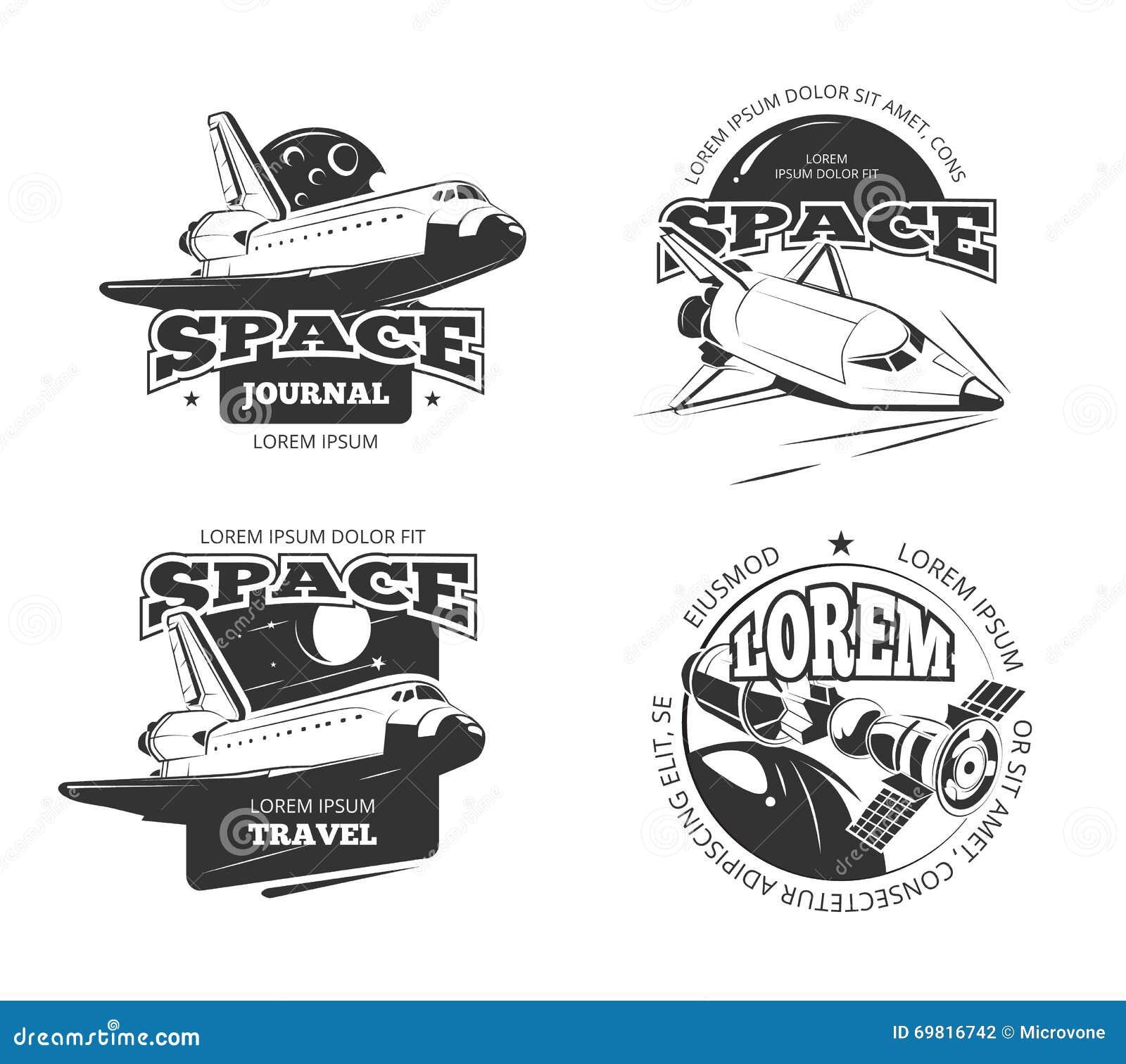 Космос, значки астронавта космоса, эмблемы и комплект вектора логотипов