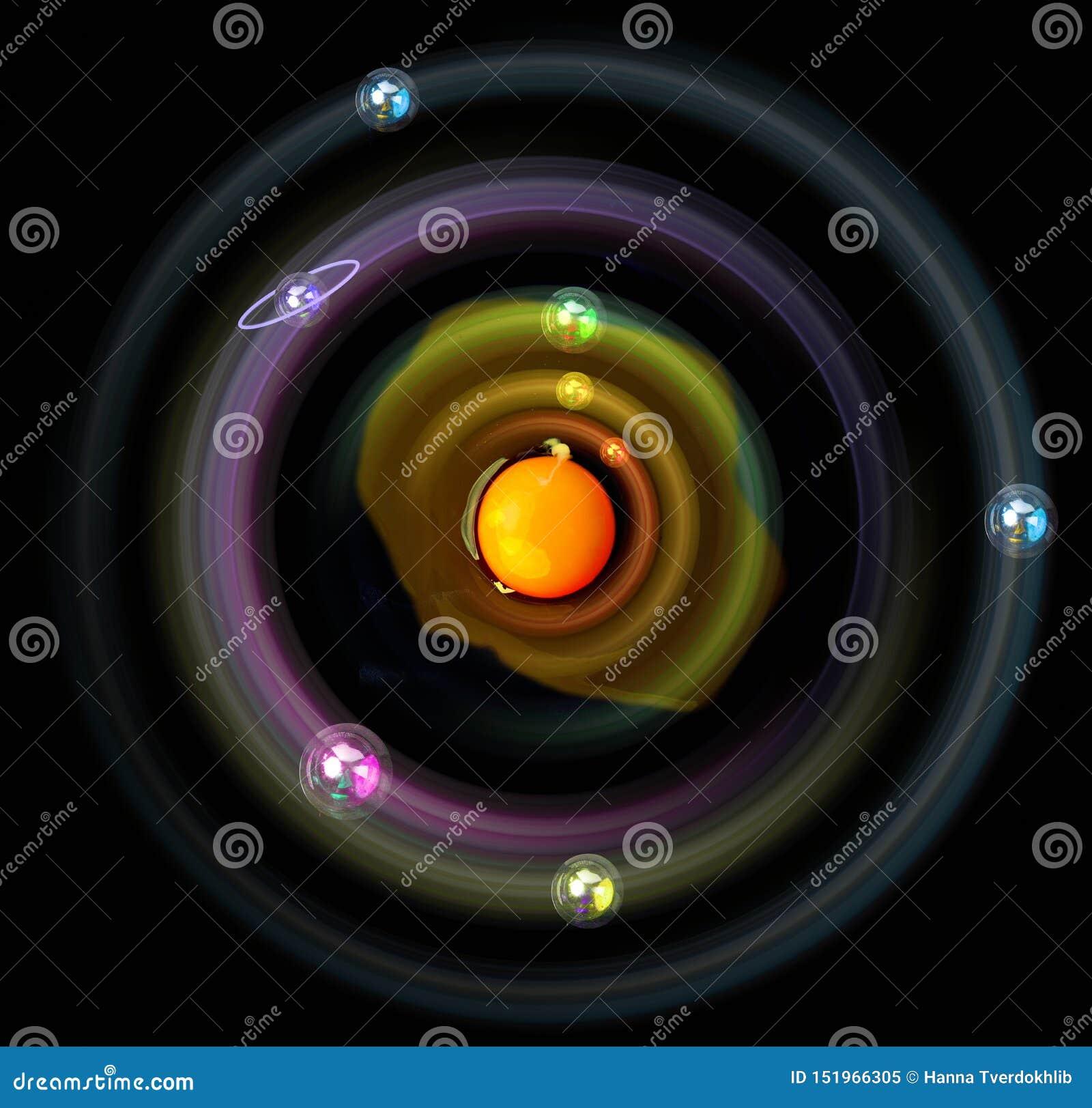 Космос, развитие и планеты с яйцом цыпленка Символ жизни и безграничности Планеты в орбите вокруг желтка Еда и