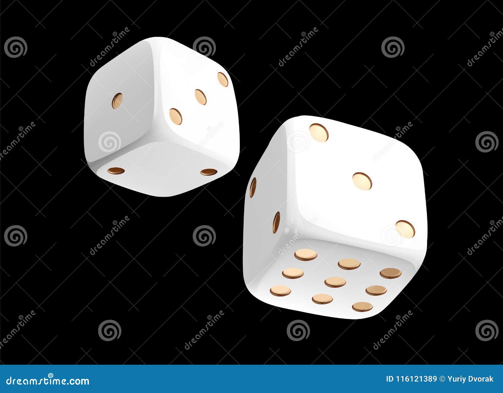 Кость казино белая на черной предпосылке Онлайн кость казино играя в азартные игры концепция изолированная на черноте вектор кост
