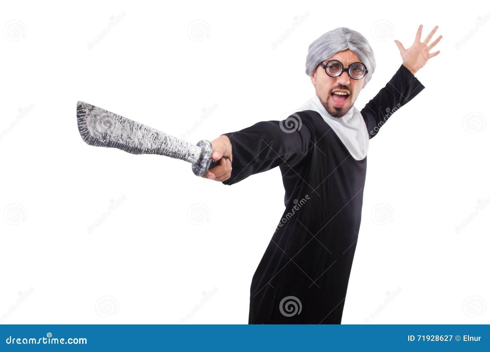 Костюм монашки человека нося изолированный на белизне