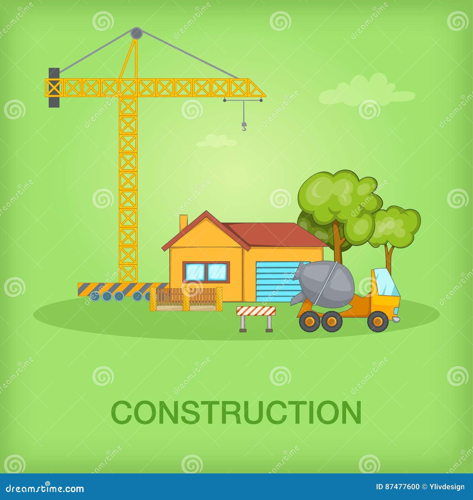 Коттедж концепции строительного процесса, стиль шаржа