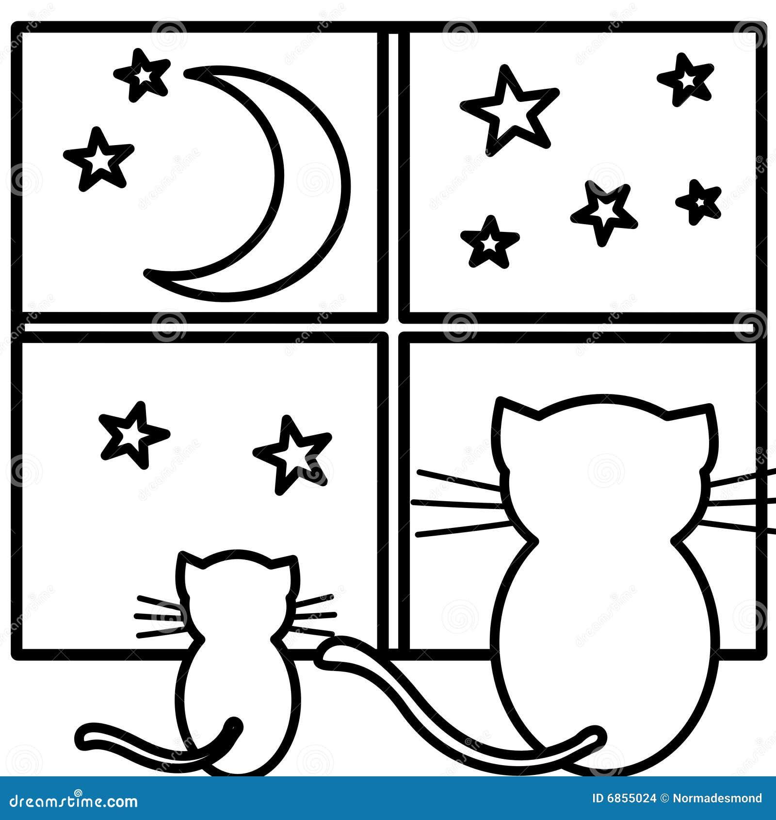коты крася наблюдать луны