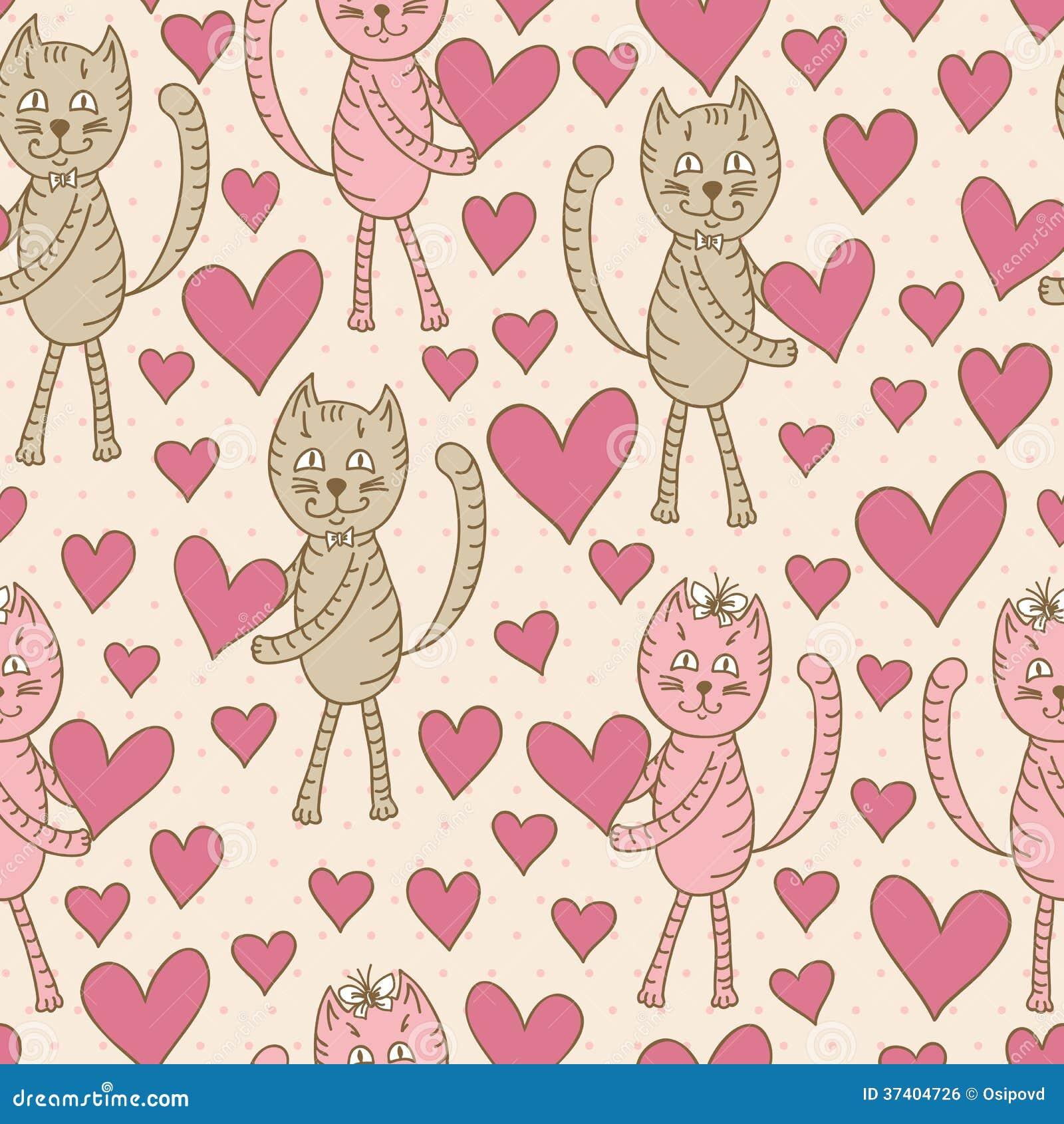 Коты с картиной сердец безшовной