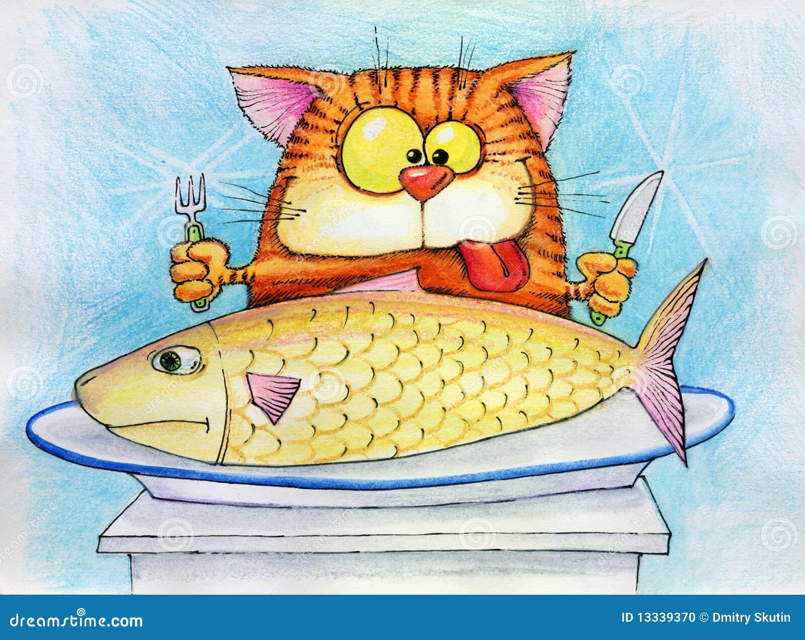Рисунки котов с рыбой