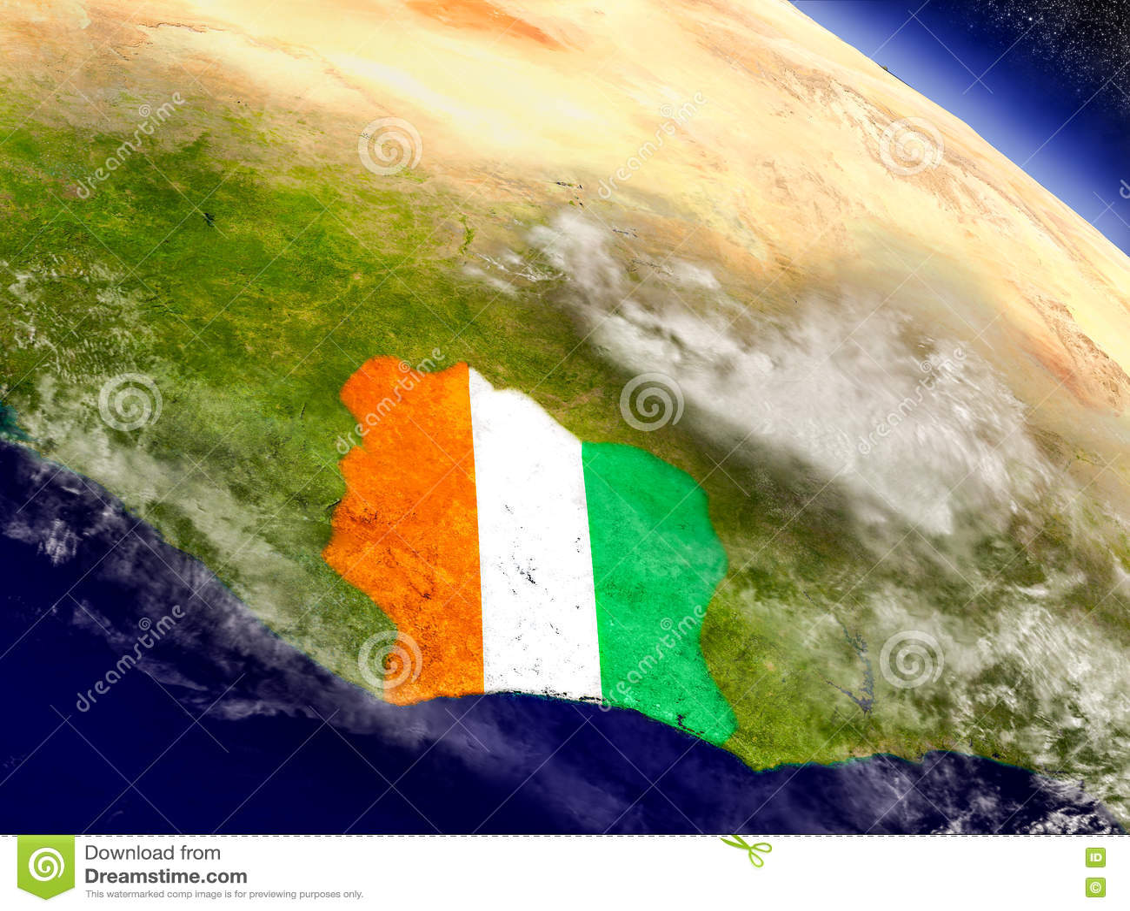 Кот-д Ивуар с врезанным флагом на земле