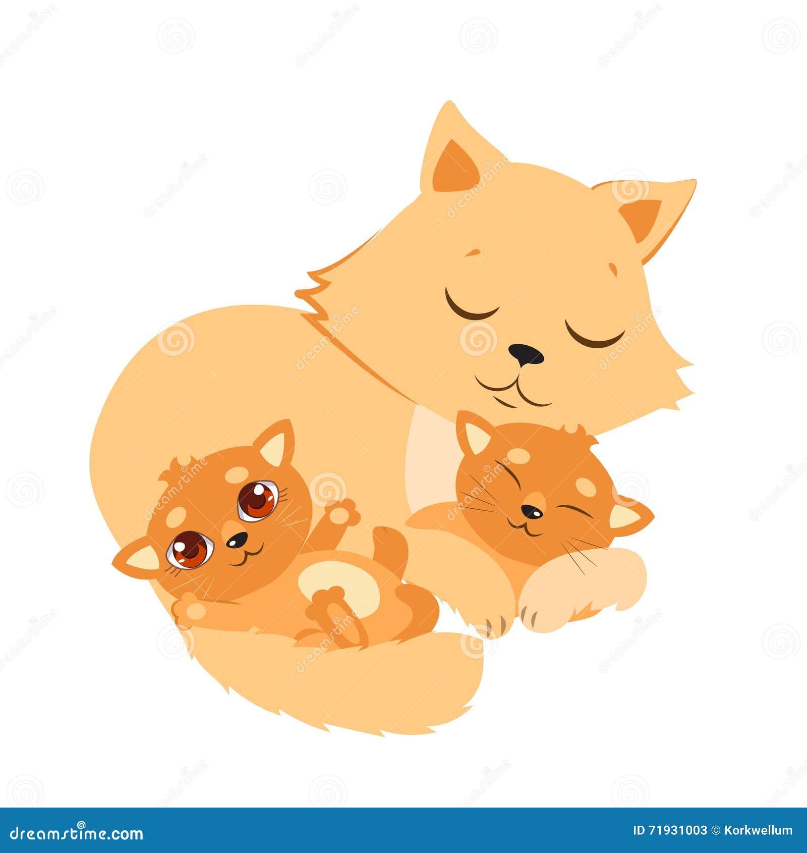 Кот и котенок спать Сладостная карточка вектора шаржа киски