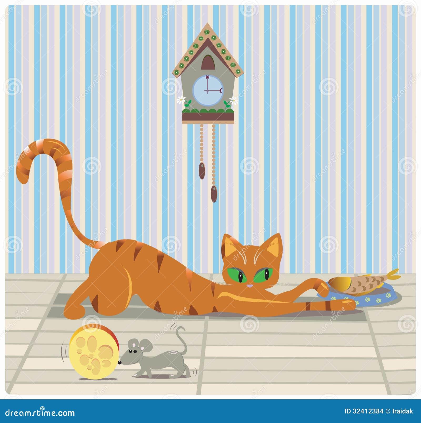 Кот и мышь имея обед