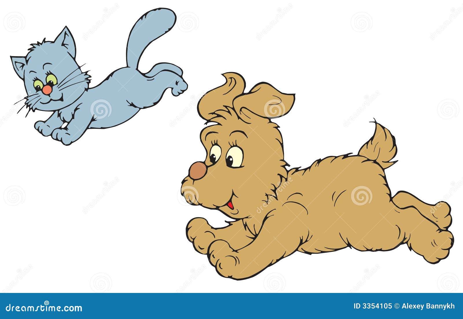 Кот и собака (зажим-искусство вектора)