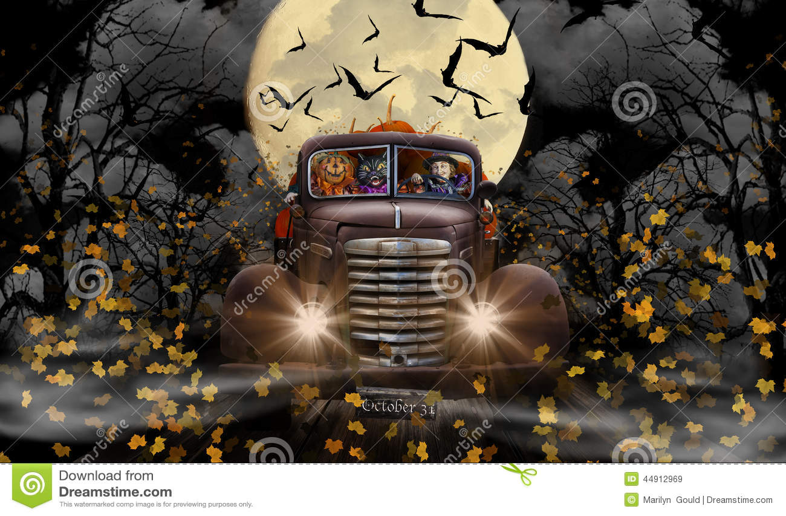 Кот и тыква ведьмы хеллоуина