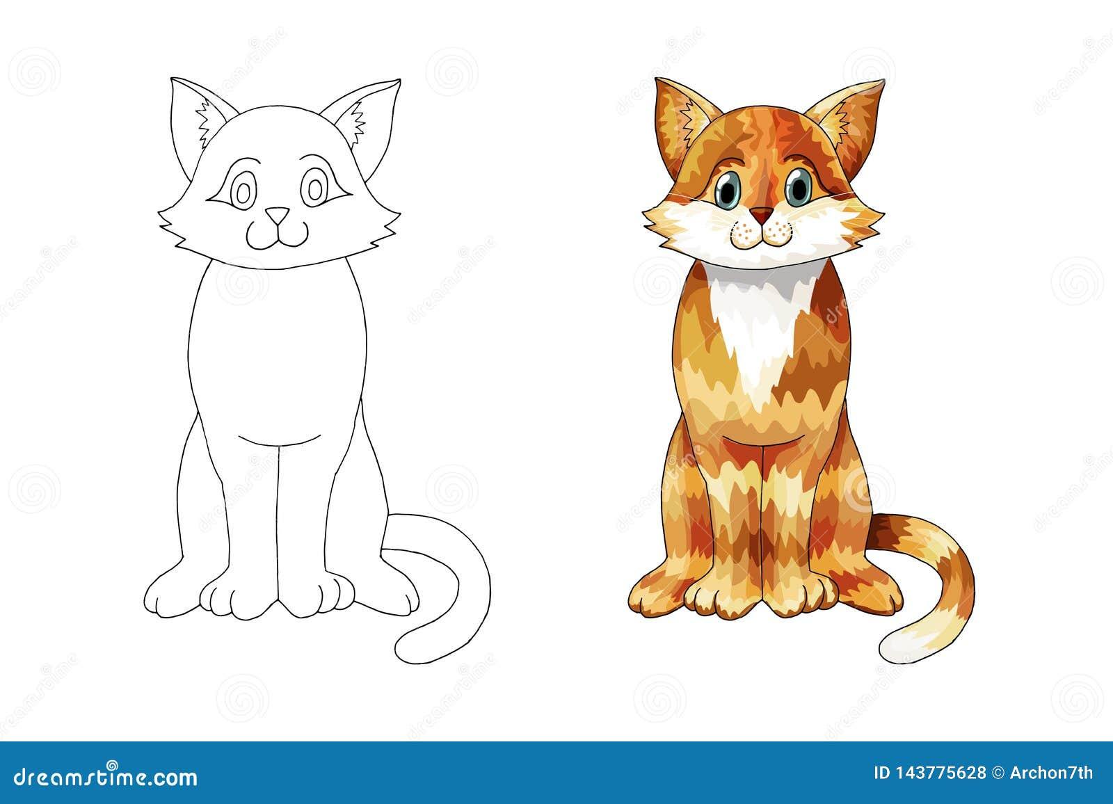 Кот мультфильма имбиря руки вычерченный для страницы или татуировки книжка-раскраски детей