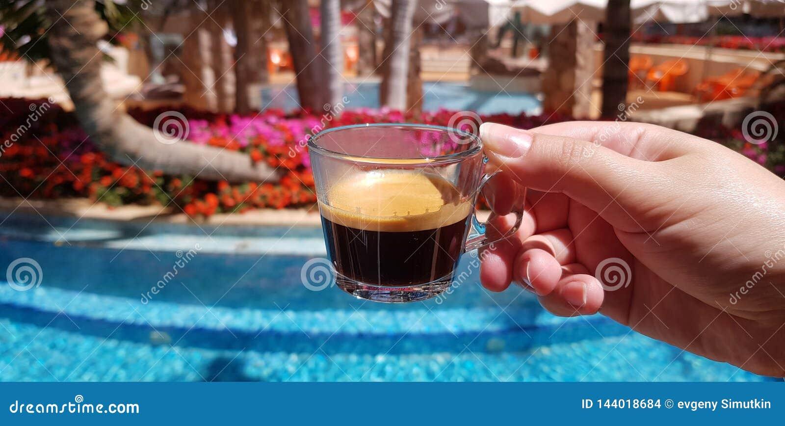 Кофейная чашка сделанная из прозрачного стекла в женской руке против голубого открытого бассейна