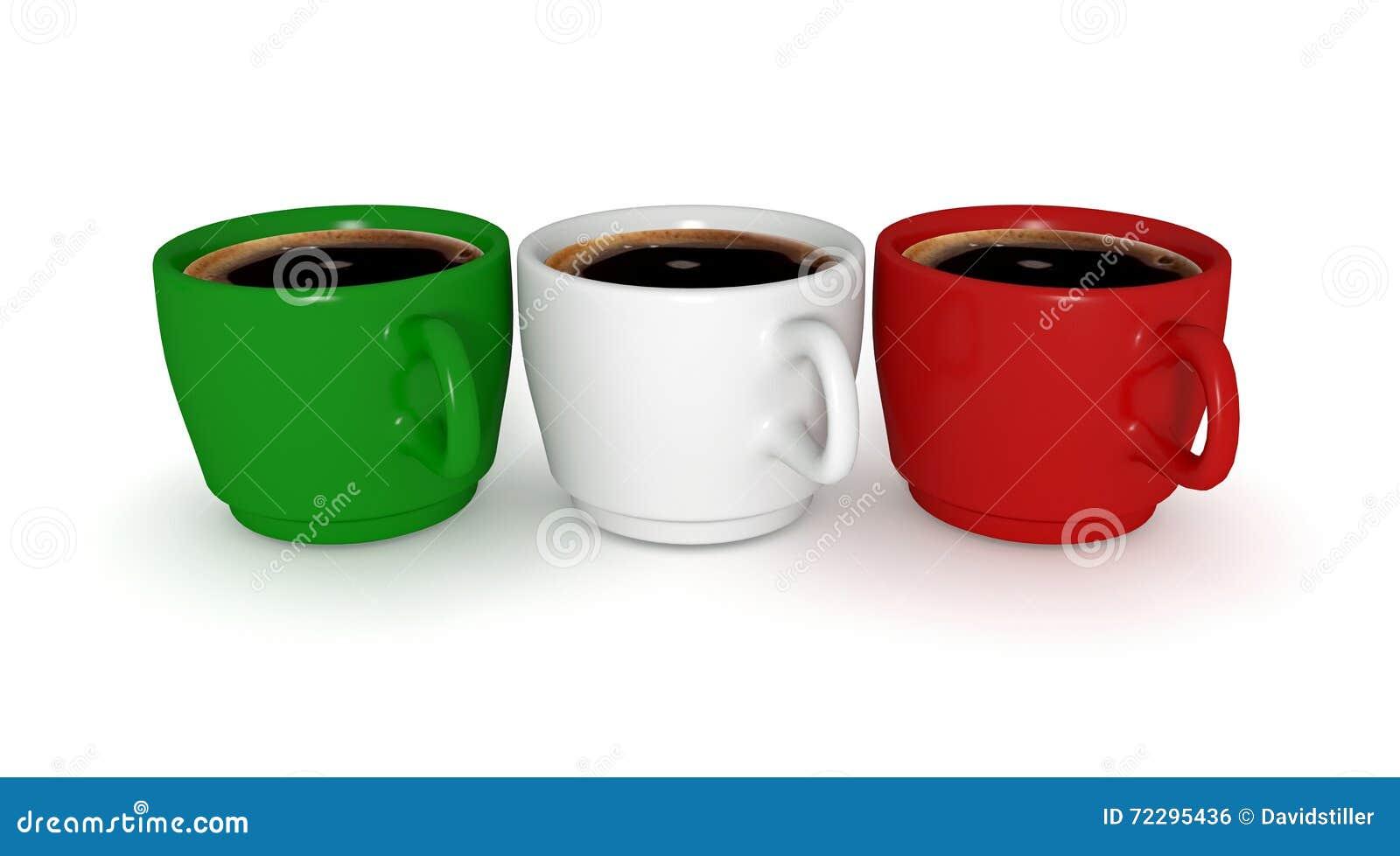 Download Кофейные чашки, итальянский флаг, иллюстрация 3d Иллюстрация штока - иллюстрации насчитывающей питье, бело: 72295436