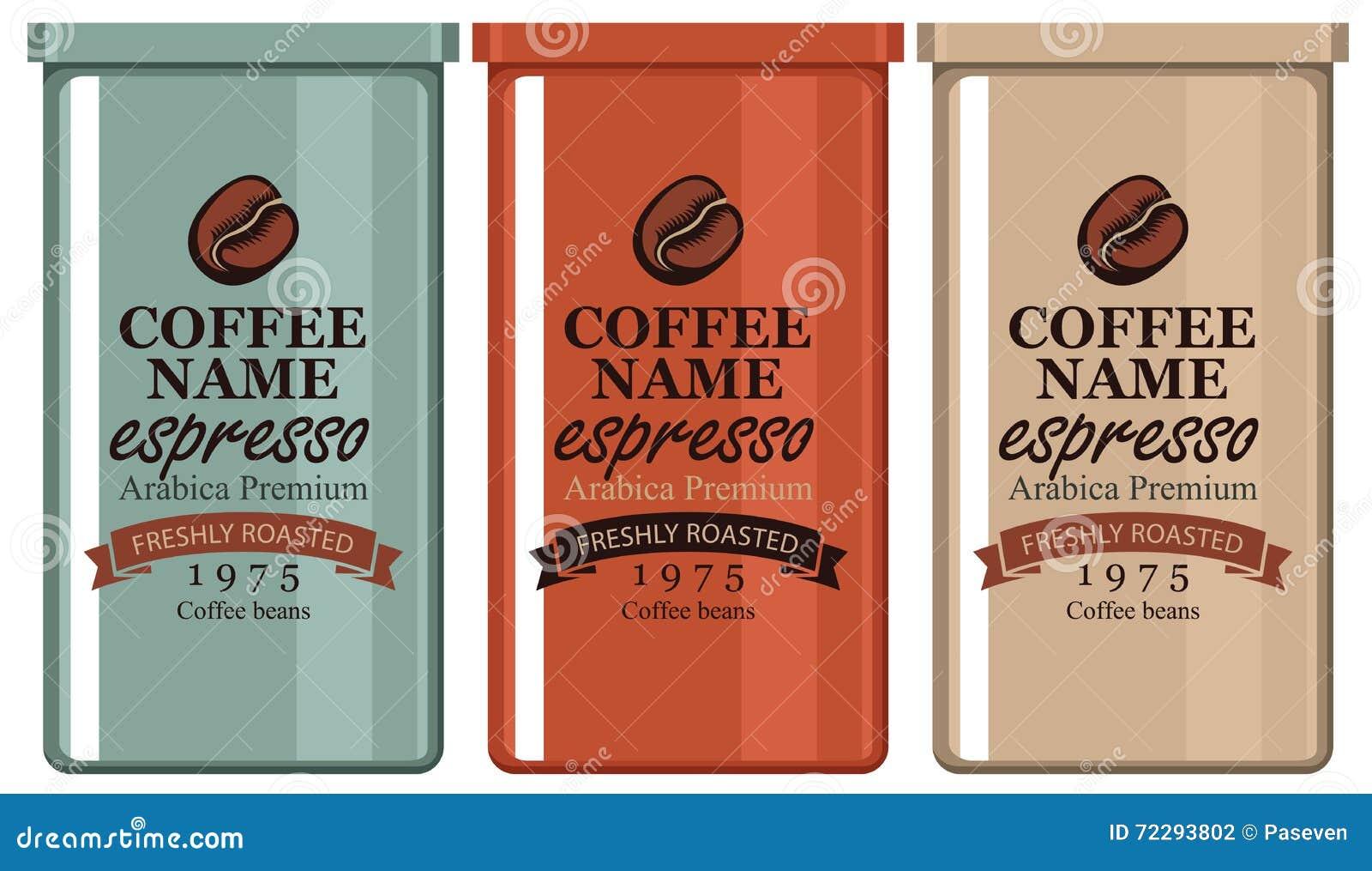Download Кофе ярлыка в железных банках Иллюстрация вектора - иллюстрации насчитывающей элемент, горяче: 72293802