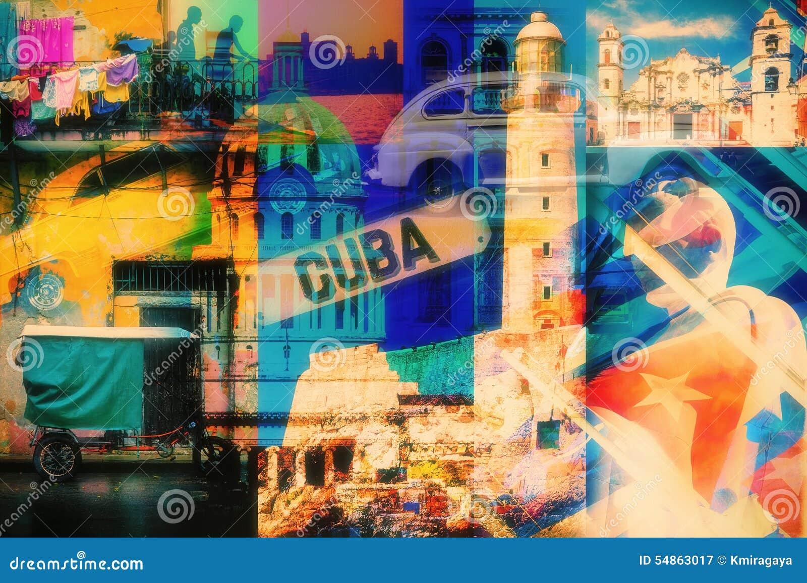 Коллаж изображений Гаваны Кубы