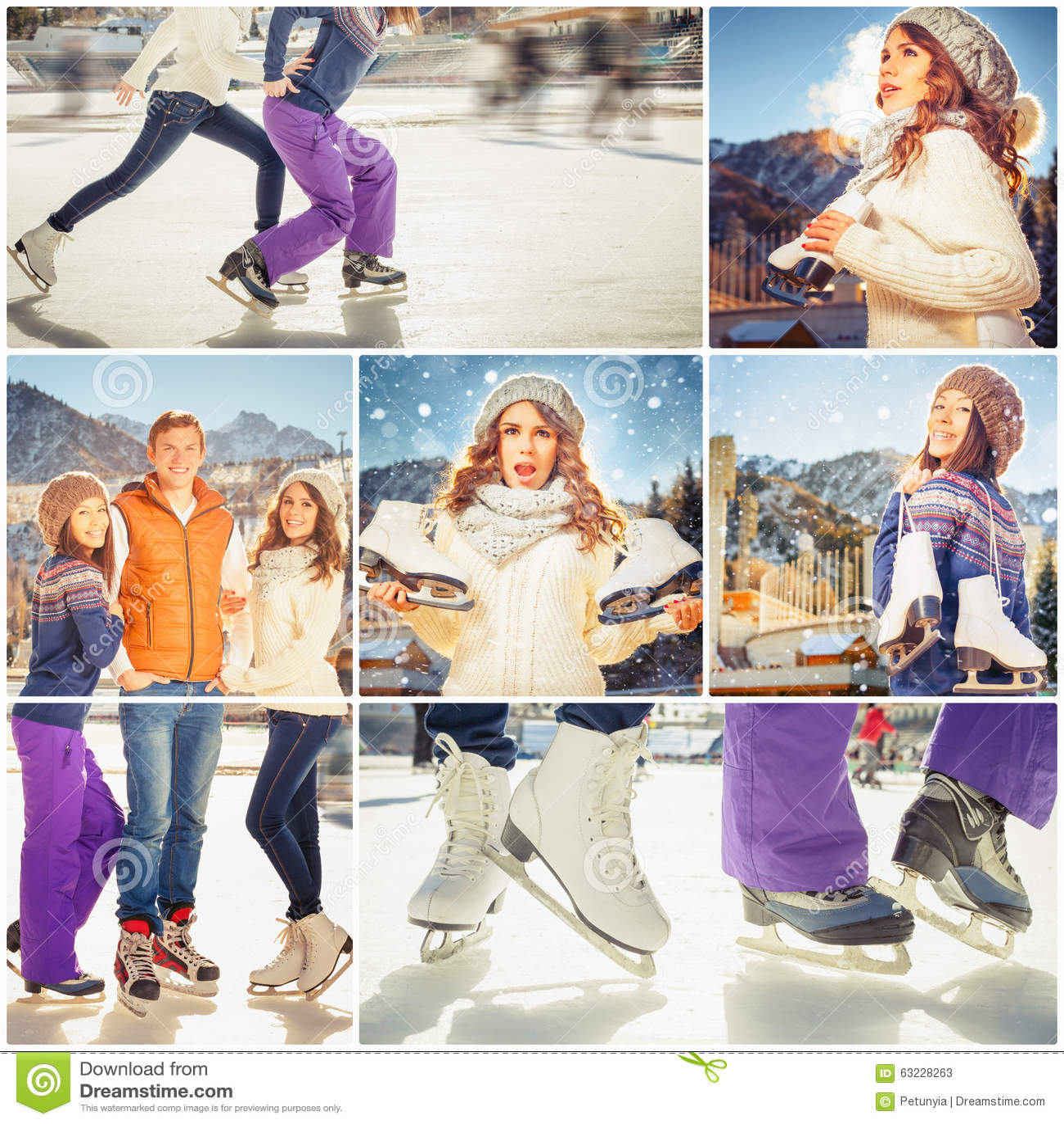 Коллаж несколько фото счастливой группы в составе люди катания на коньках