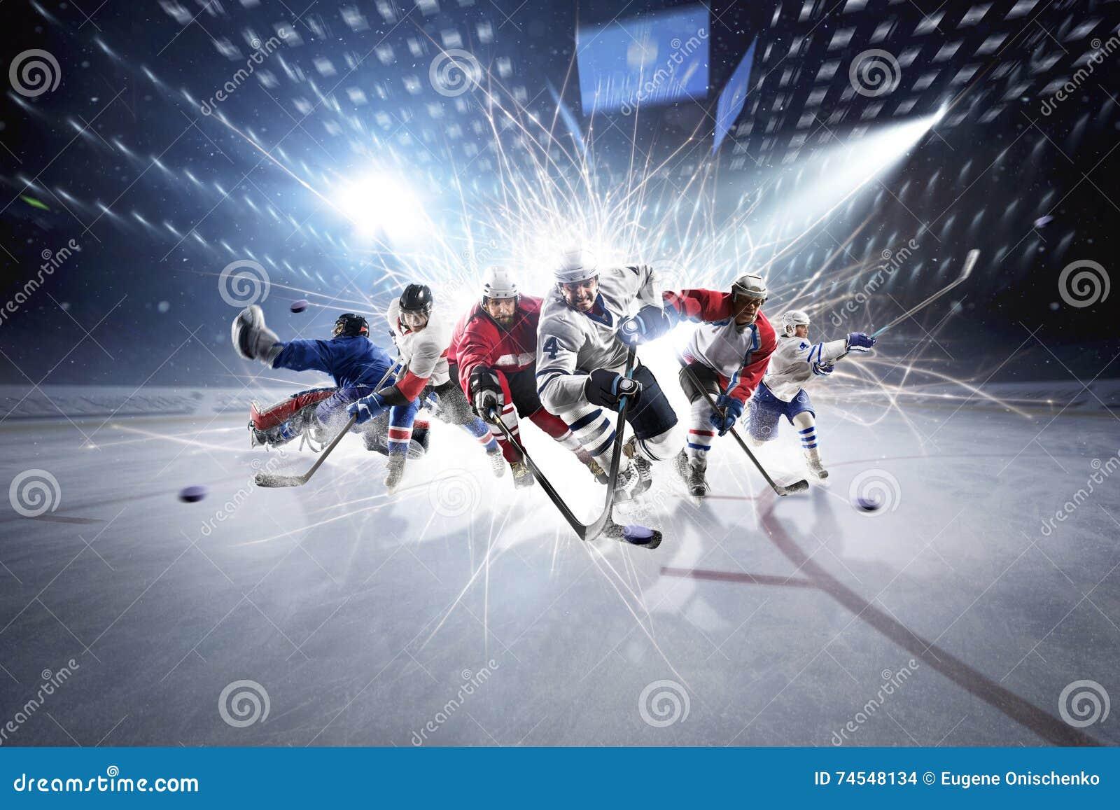 Коллаж от хоккеистов в действии