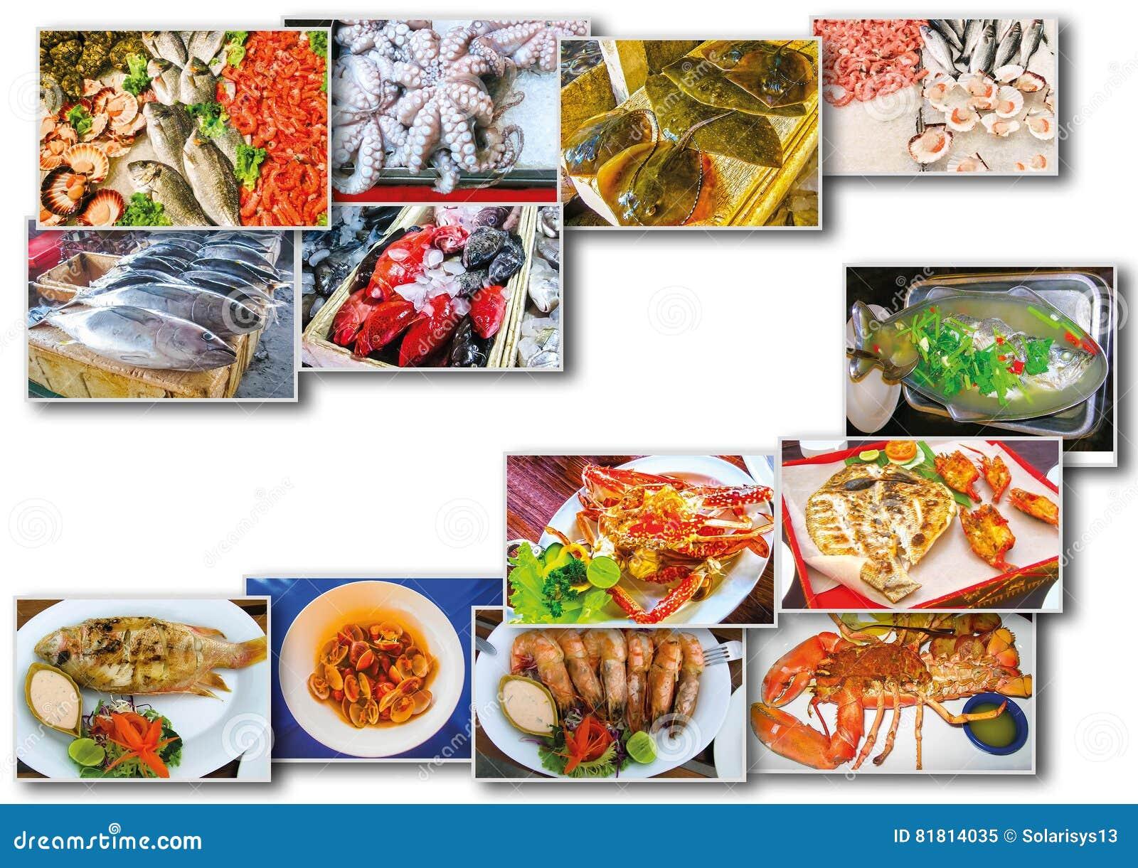 Коллаж продукта моря с блюдами сырых рыб и ресторана