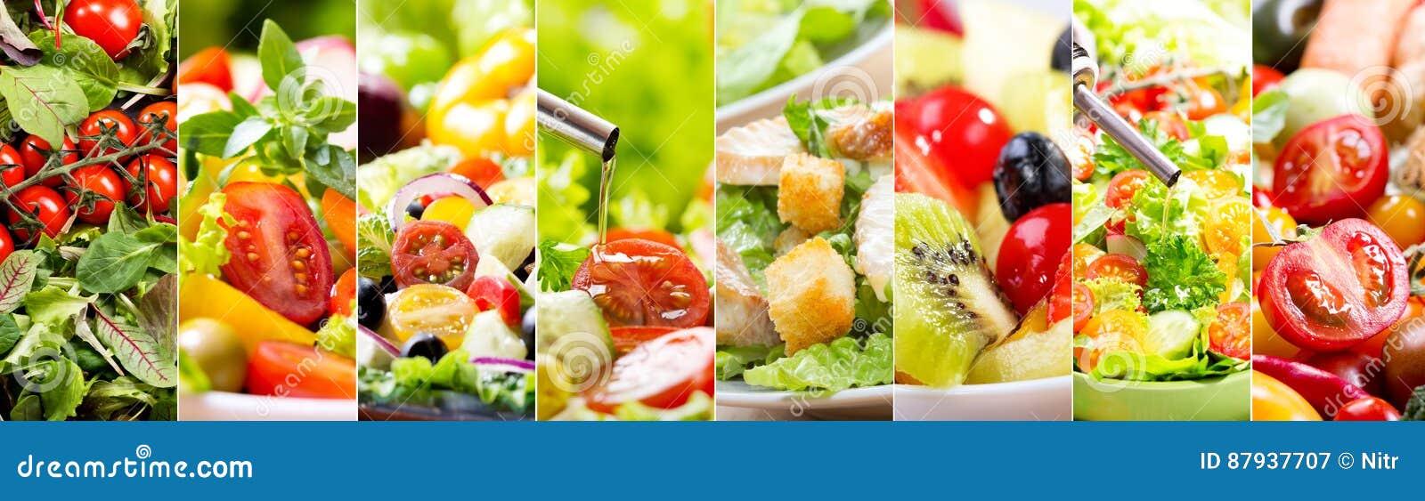 Коллаж различного салата