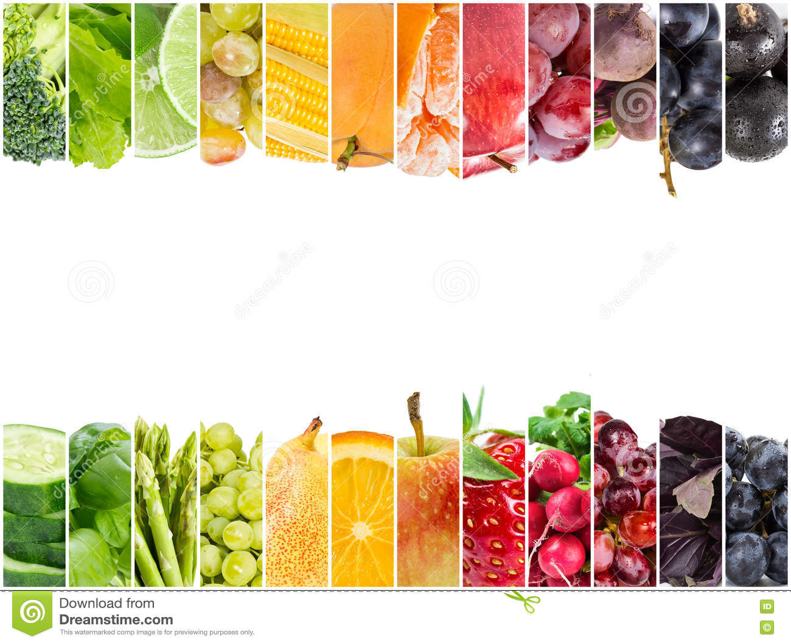 Коллаж свежих фруктов и овощей