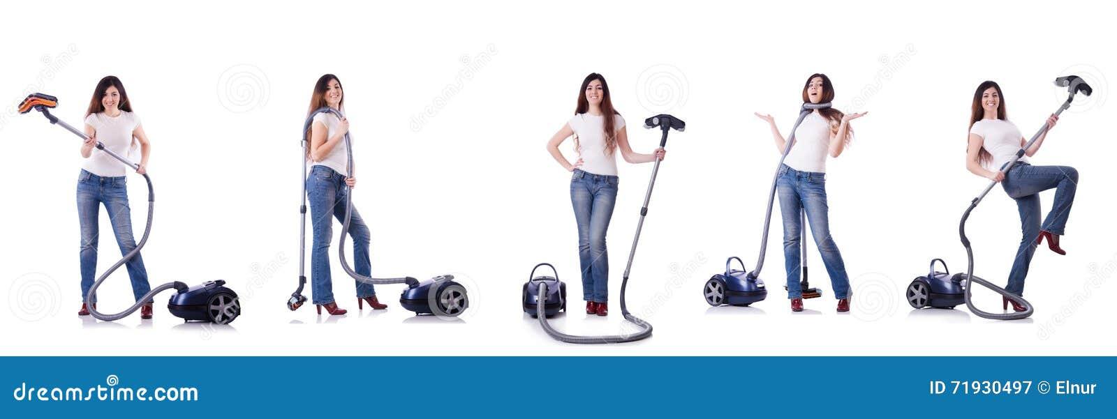 Коллаж чистки женщины с пылесосом