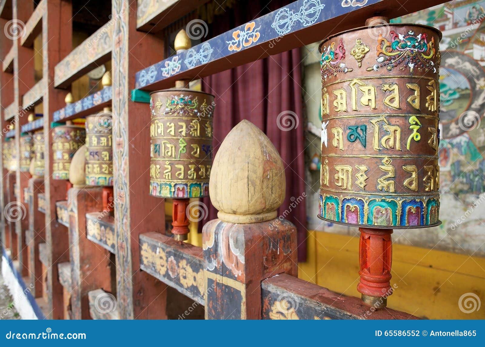 Колеса молитве на Trongsa Dzong, Trongsa, Бутане