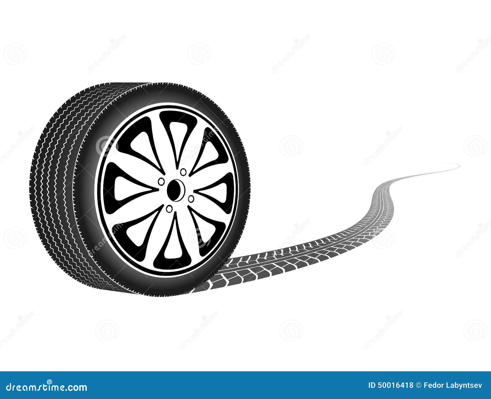 Колесо автомобиля покидая трассировка