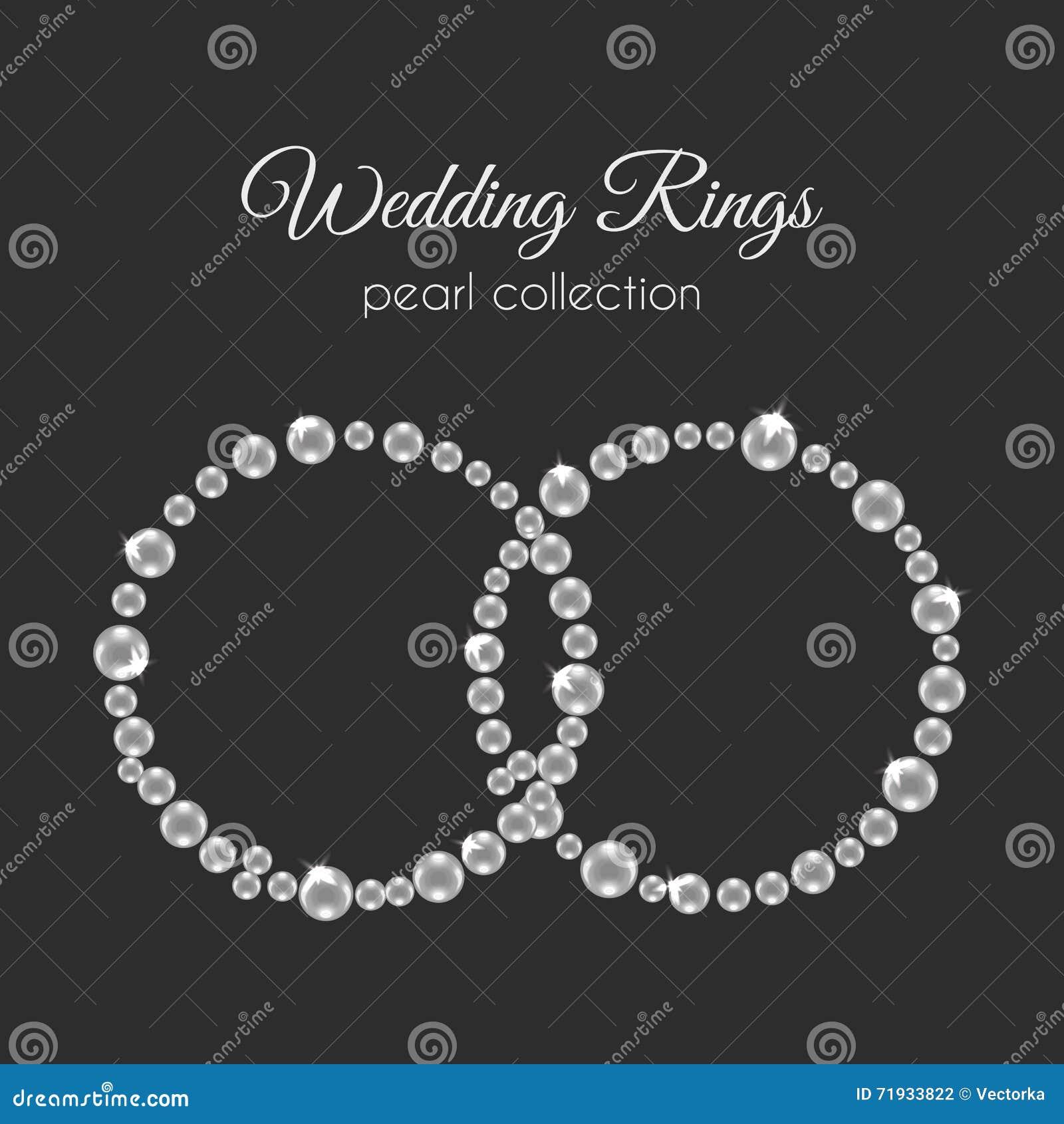 Кольца жемчуга Рамка вектора в форме круга Белый дизайн жемчугов