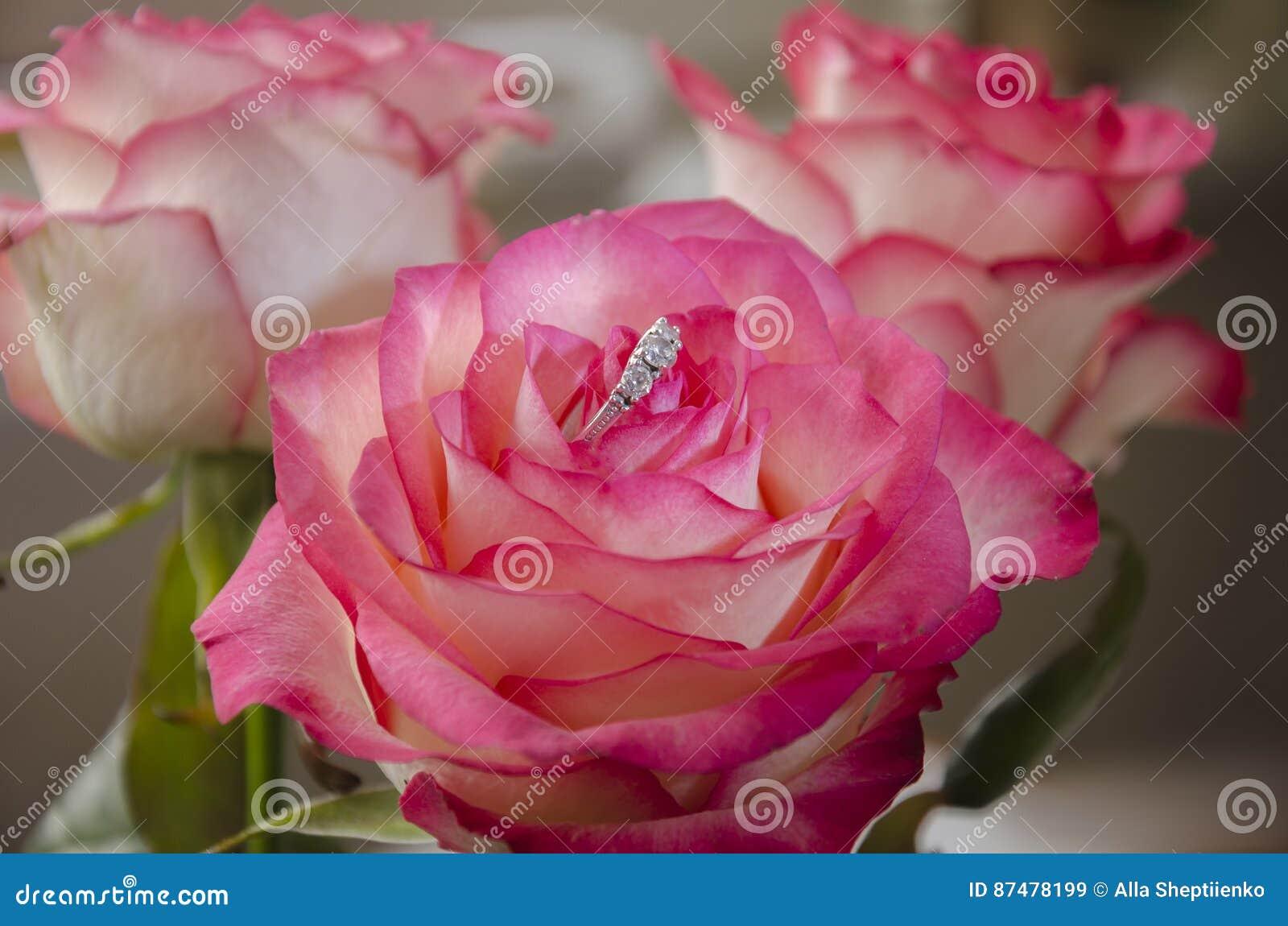 Кольцо в розовом цветке