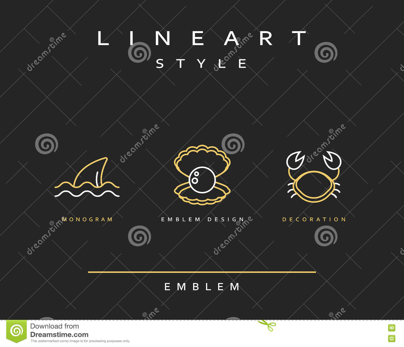 Краб, жемчуг, и эмблема ребра в линейном стиле