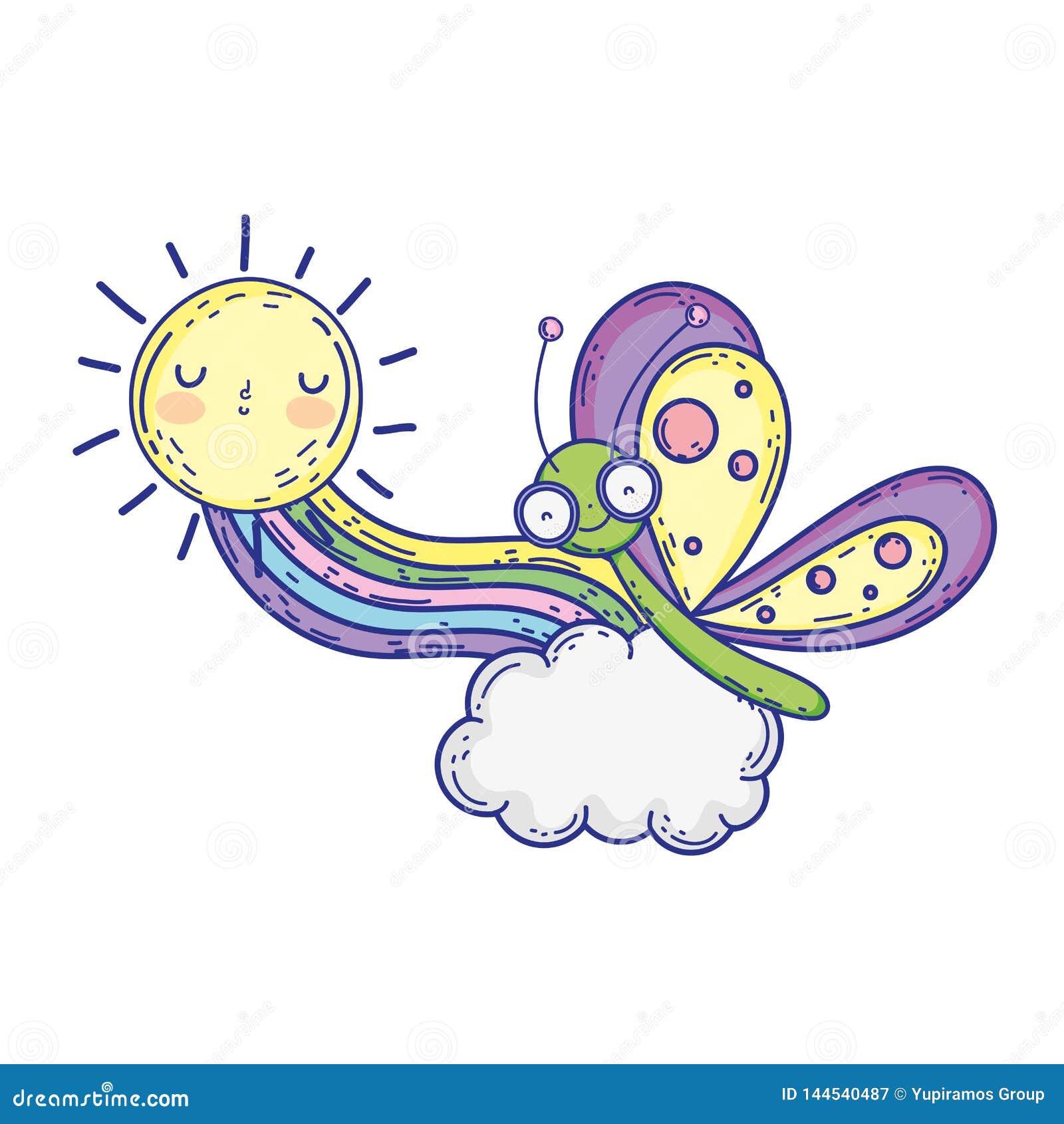 Красивая бабочка с радугой и солнцем