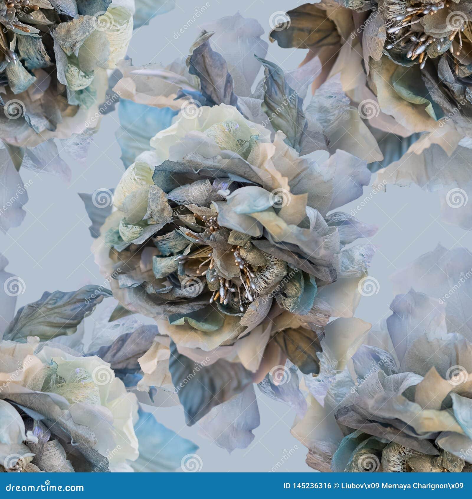 Красивая безшовная картина с цветками роз шелка